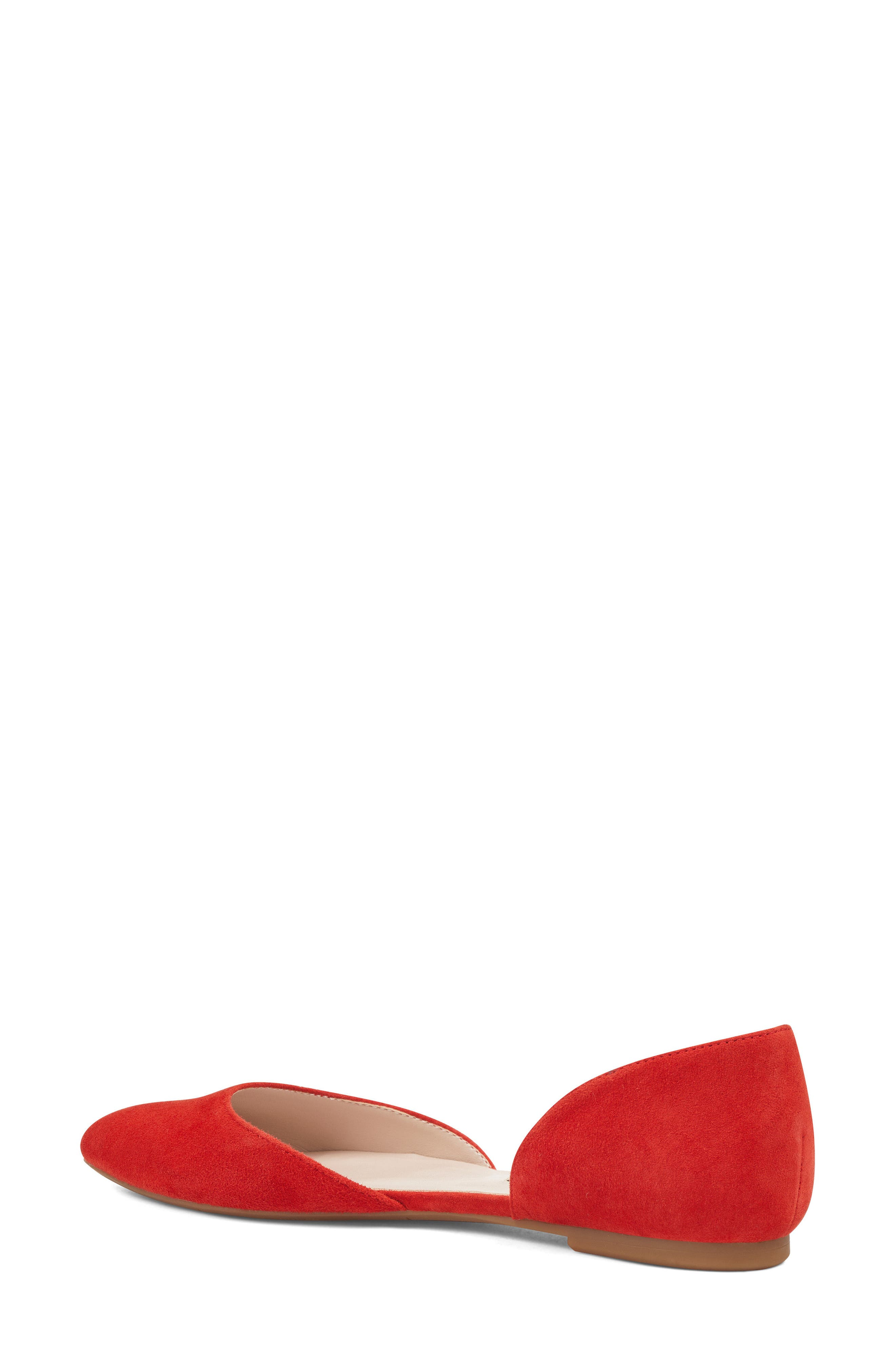 NINE WEST, Starship d'Orsay Flat, Alternate thumbnail 2, color, RED SUEDE