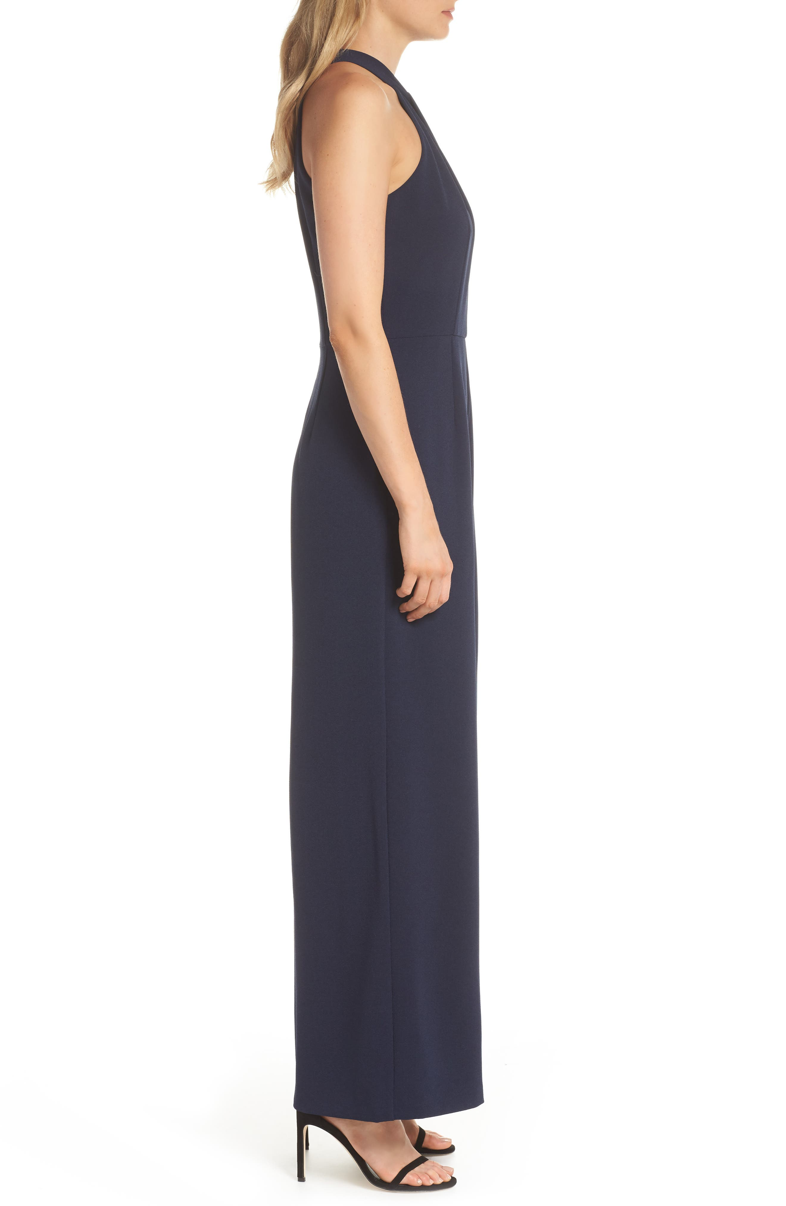 JULIA JORDAN, Halter Wide Leg Jumpsuit, Alternate thumbnail 4, color, NAVY