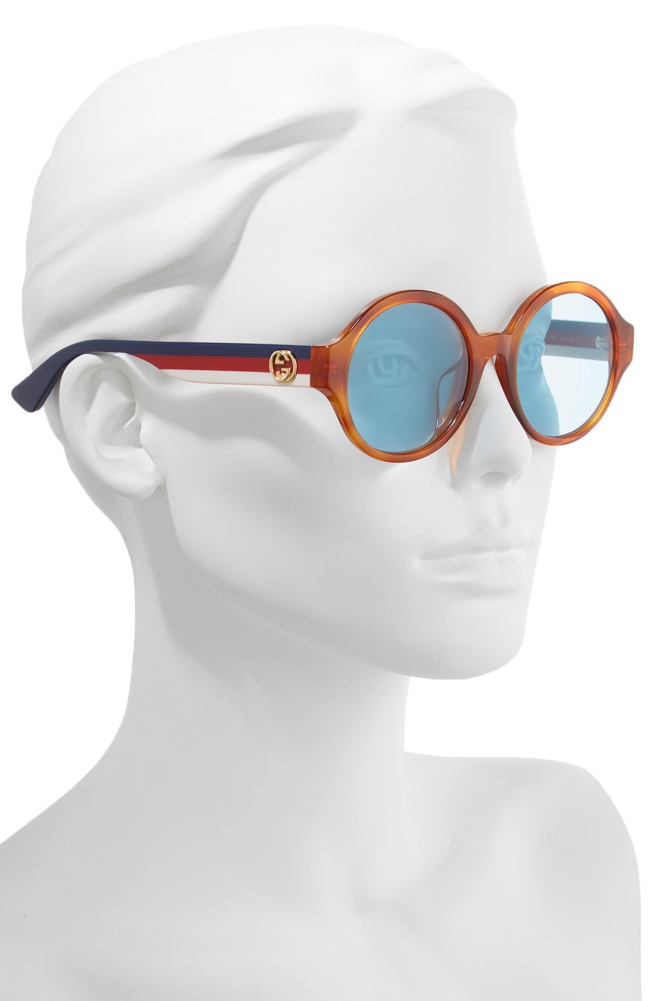 GUCCI, 51mm Round Sunglasses, Alternate thumbnail 2, color, HAVANA