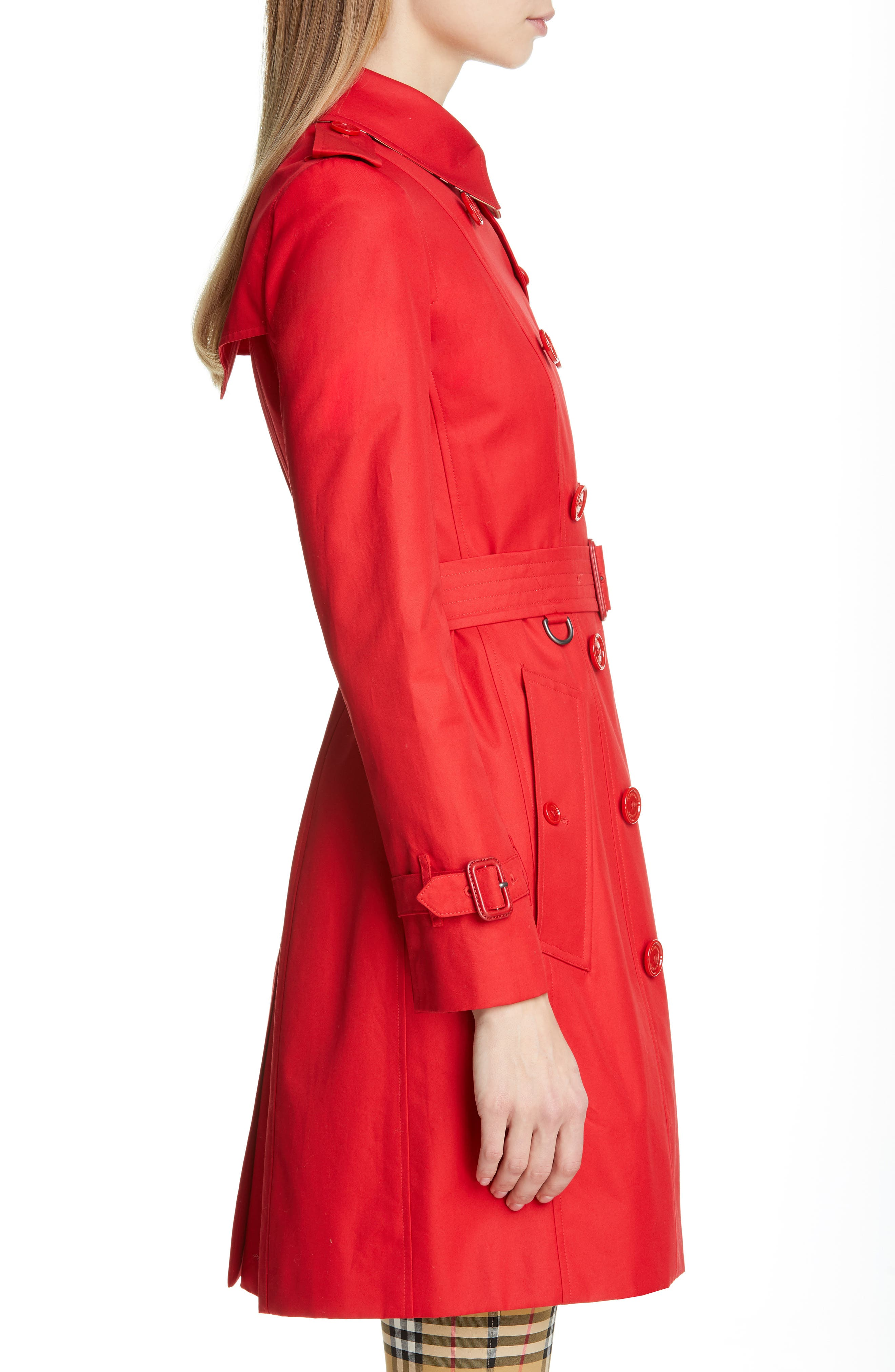 BURBERRY, The Chelsea Cotton Gabardine Trench Coat, Alternate thumbnail 4, color, BRIGHT RED