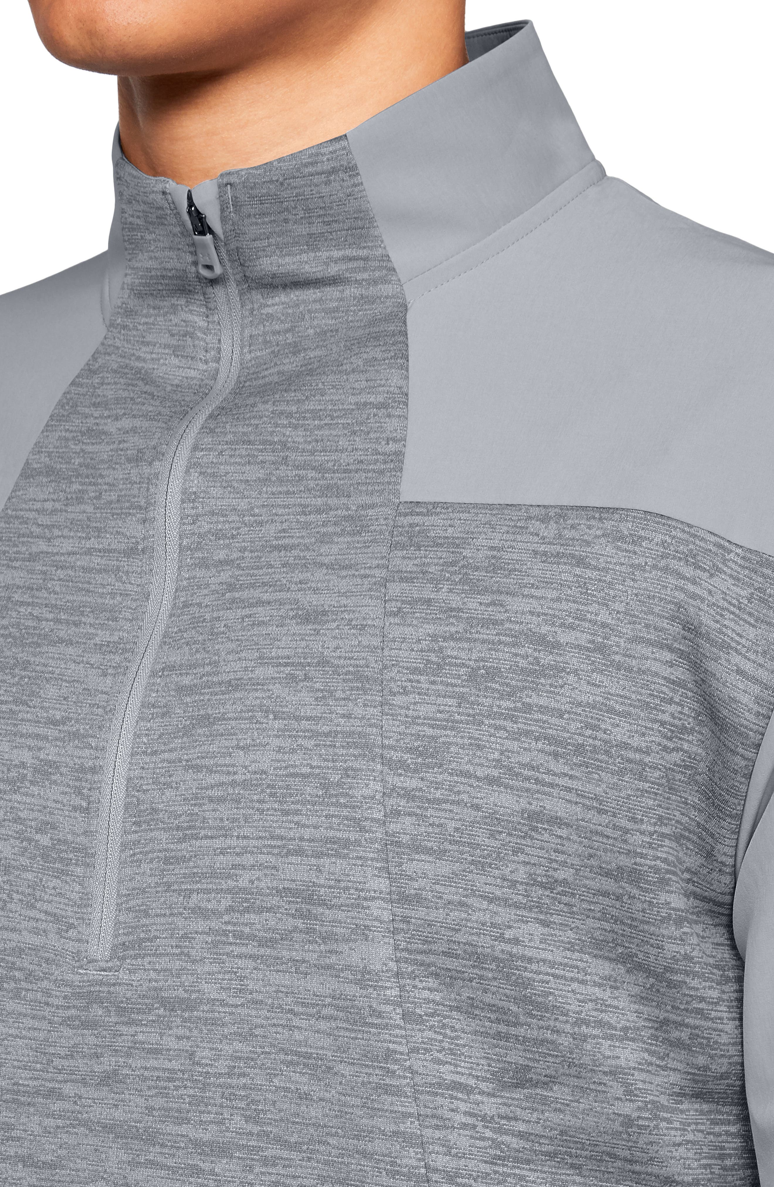 UNDER ARMOUR, Storm Cyclone Water Repellent Quarter Zip Pullover, Alternate thumbnail 3, color, OVERCAST GREY/ BLACK