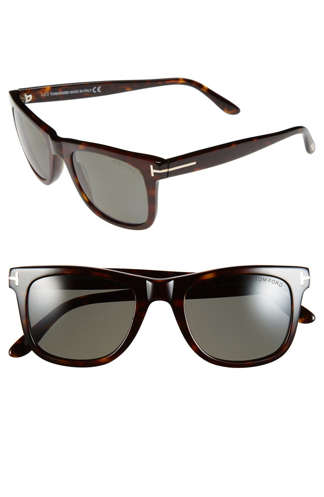 TOM FORD, 'Leo' 52mm Polarized Sunglasses, Main thumbnail 1, color, SHINY CLASSIC HAVANA