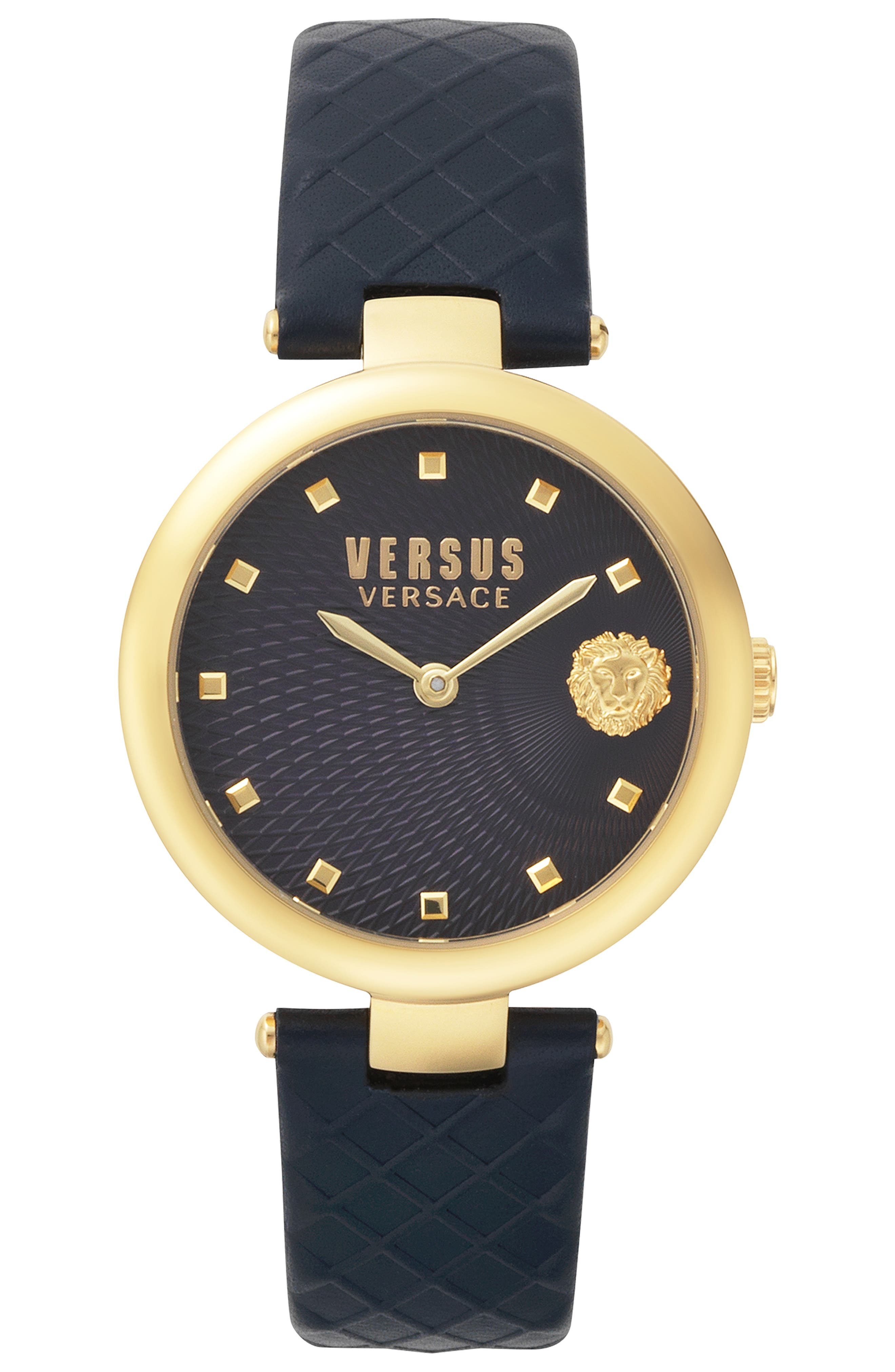 VERSUS VERSACE Buffle Bay Leather Strap Watch, 36mm, Main, color, BLUE/ GOLD