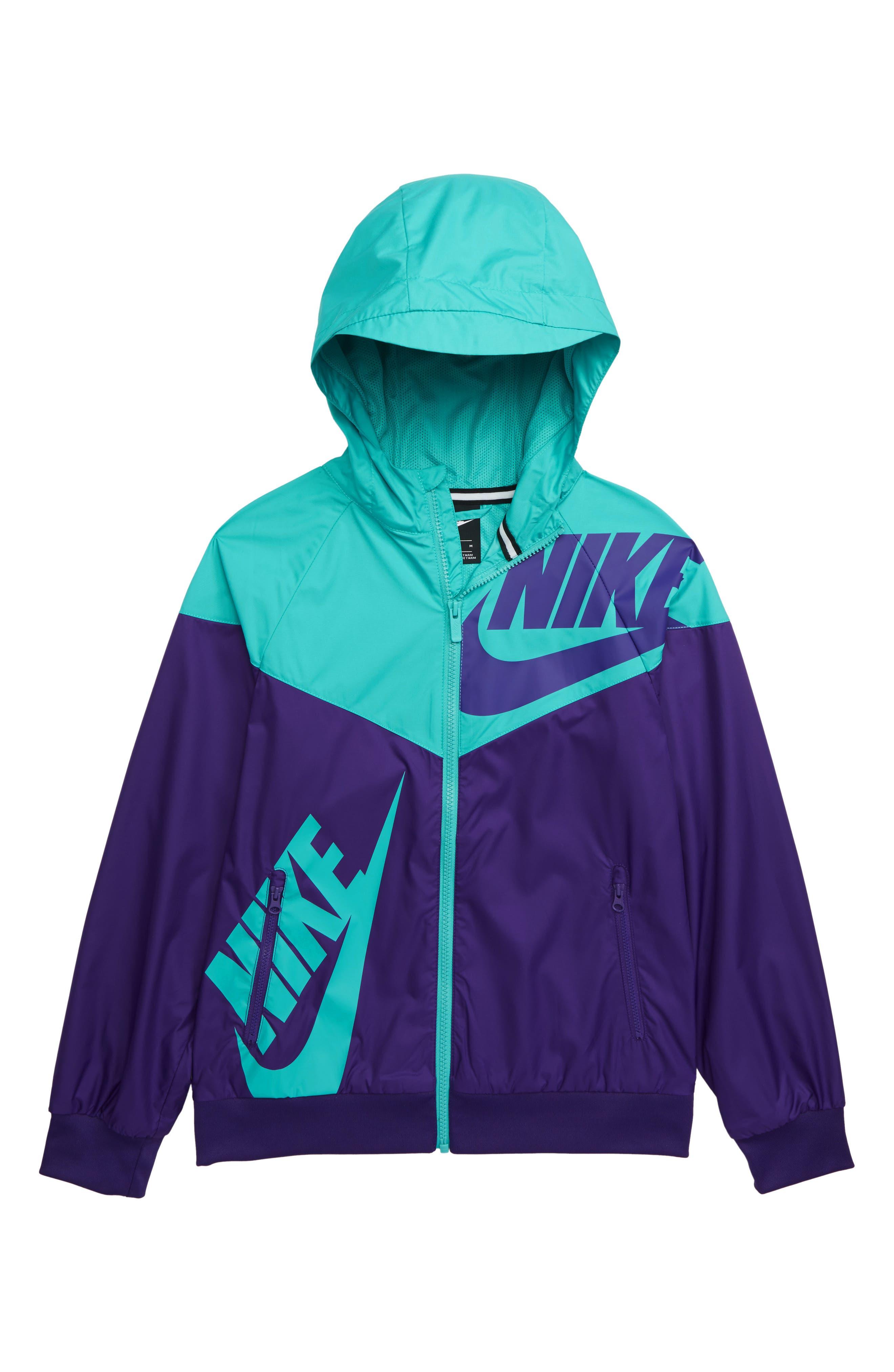 NIKE, Sportswear Windrunner Zip Jacket, Main thumbnail 1, color, COURT PURPLE/ CABANA