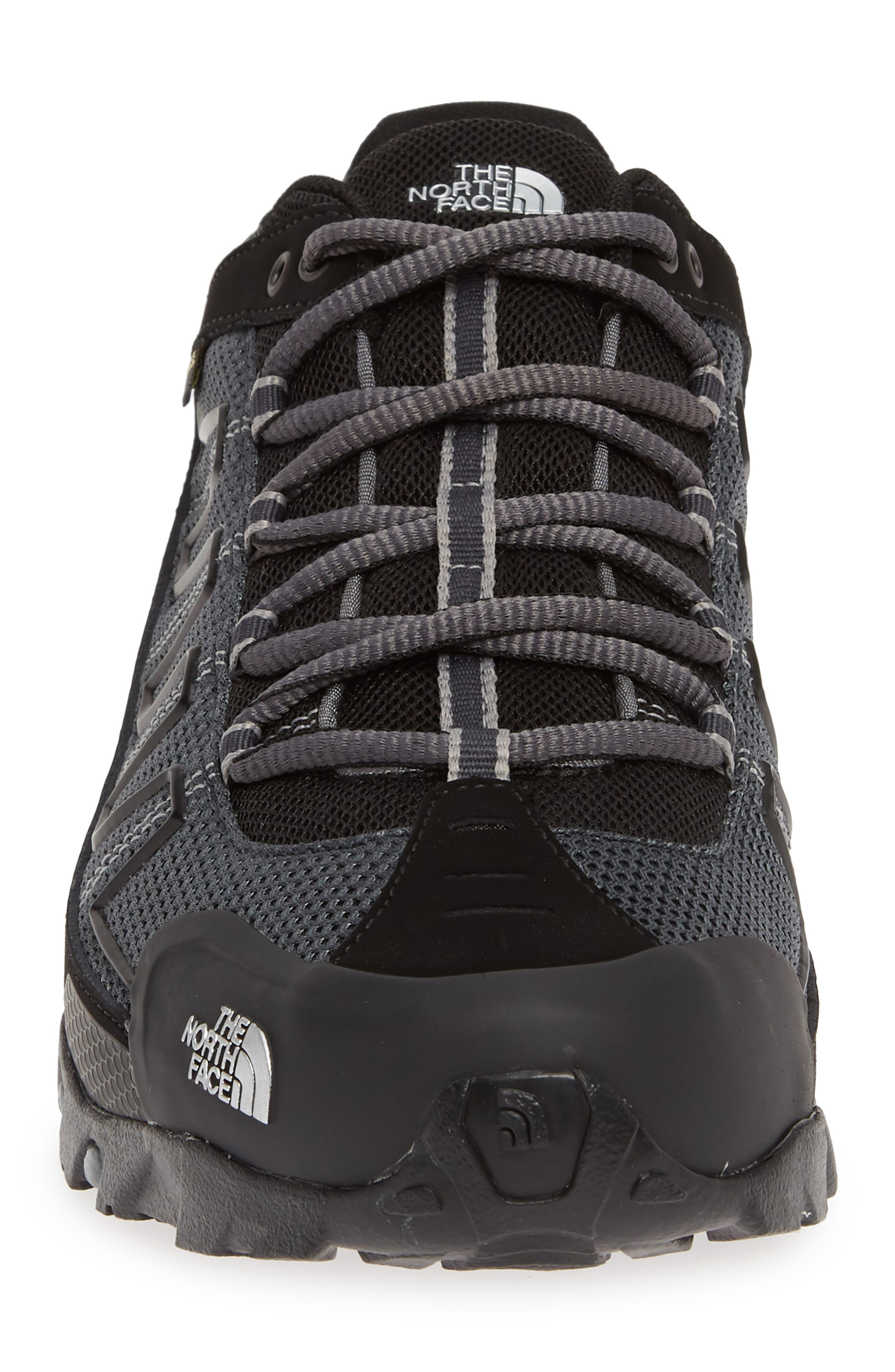 THE NORTH FACE, 'Ultra 109 GTX' Waterproof Running Shoe, Alternate thumbnail 4, color, BLACK/ GREY