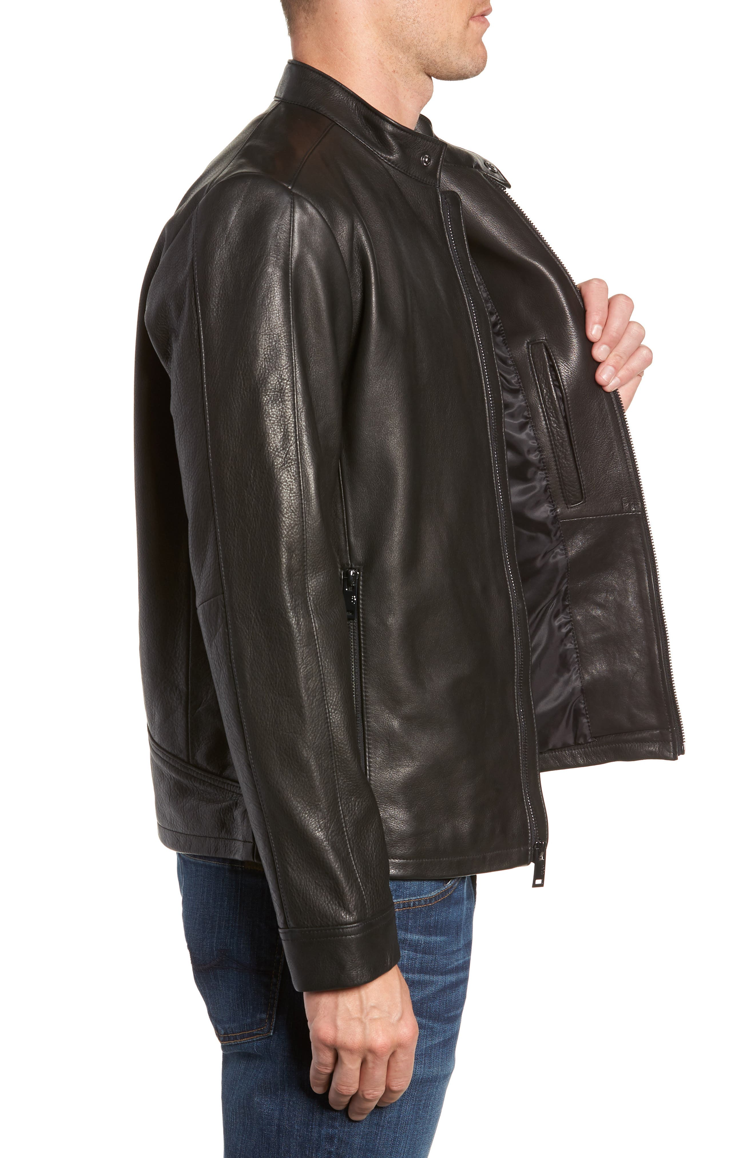 UGG<SUP>®</SUP>, Orlando Leather Racer Coat, Alternate thumbnail 4, color, BLACK