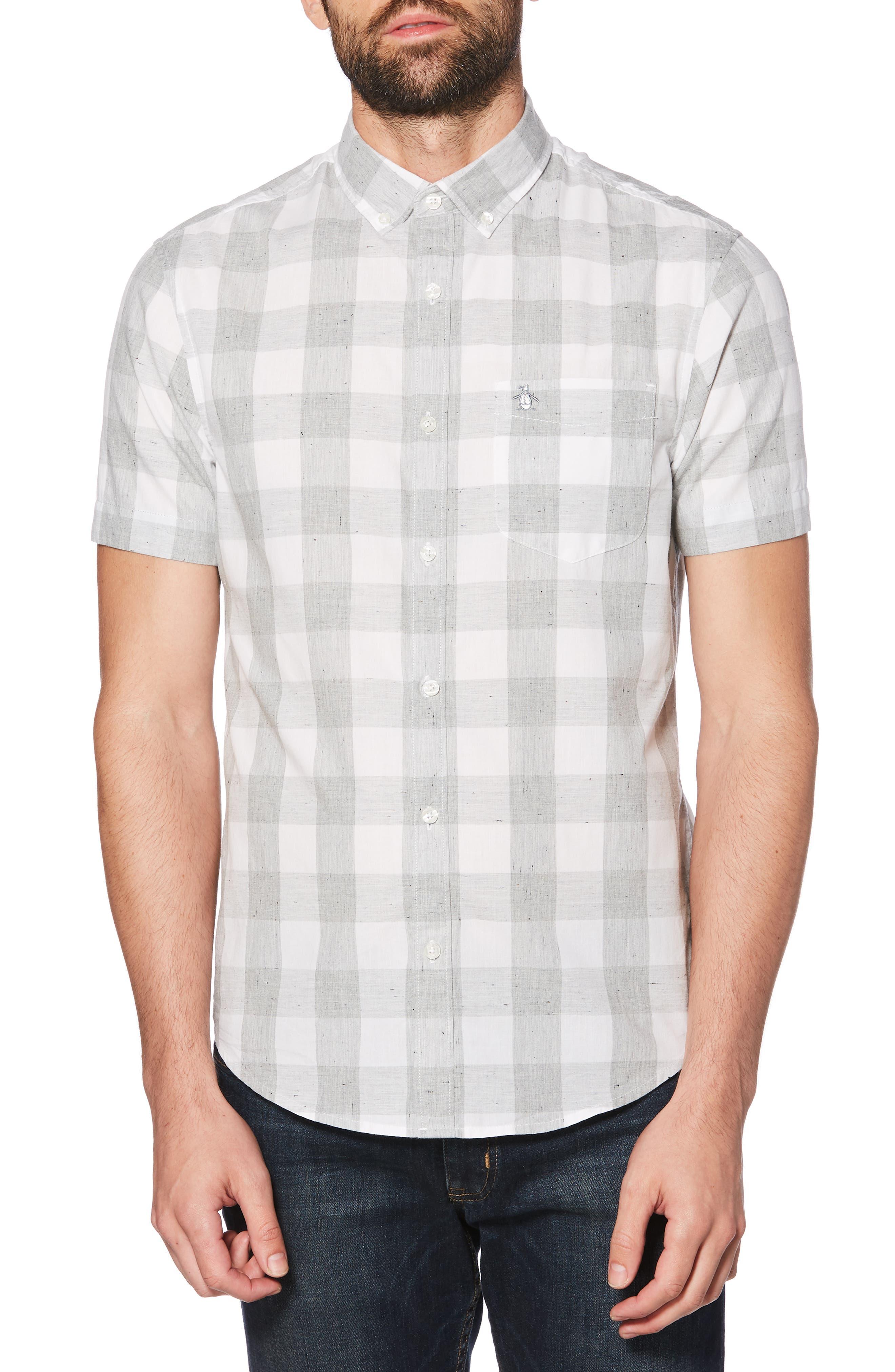 ORIGINAL PENGUIN Heather Buffalo Plaid Woven Shirt, Main, color, 037