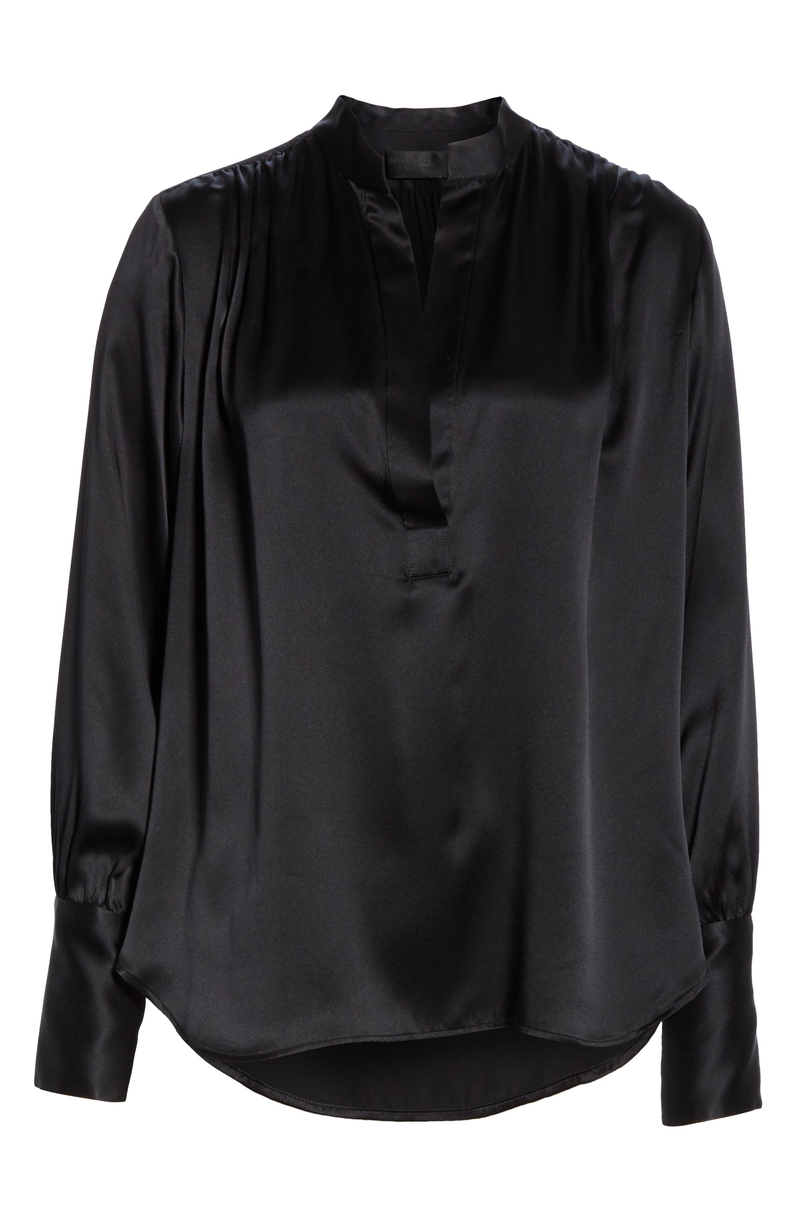 NILI LOTAN, Colette Silk Blouse, Alternate thumbnail 6, color, BLACK