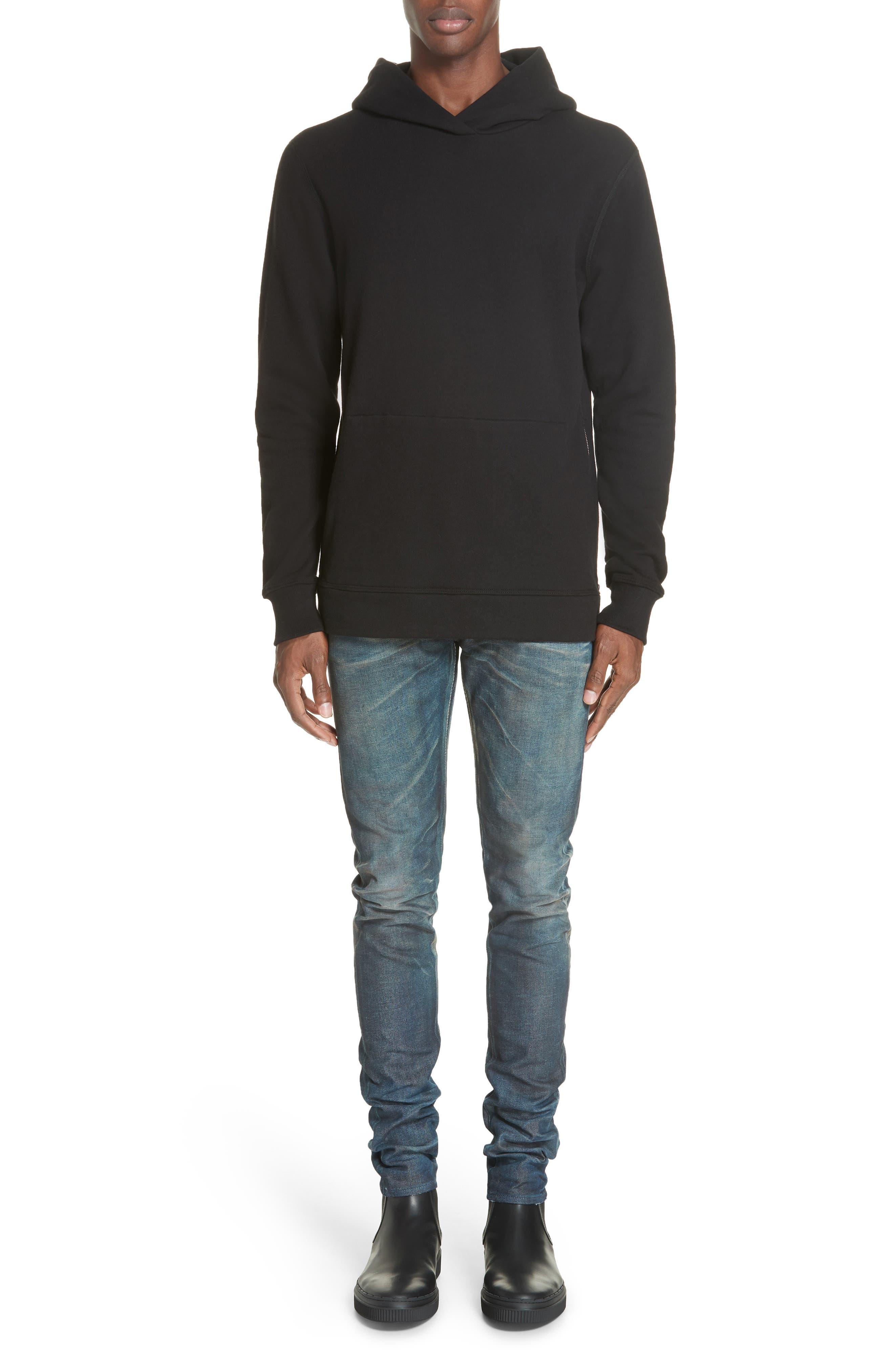 JOHN ELLIOTT, Hooded Villain Sweatshirt, Alternate thumbnail 7, color, BLACK