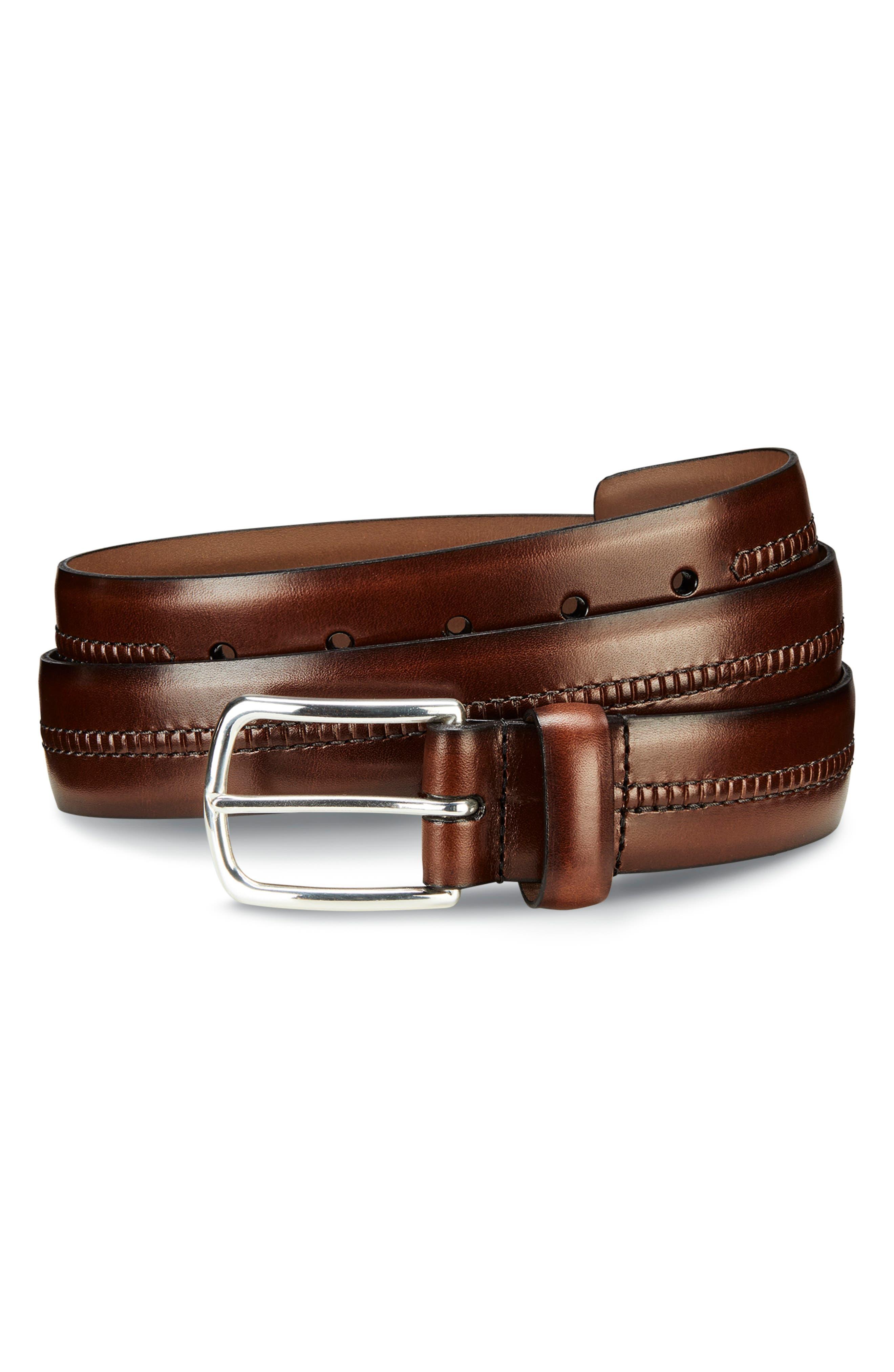 ALLEN EDMONDS Cambridge Ave Leather Belt, Main, color, BROWN BURNISHED