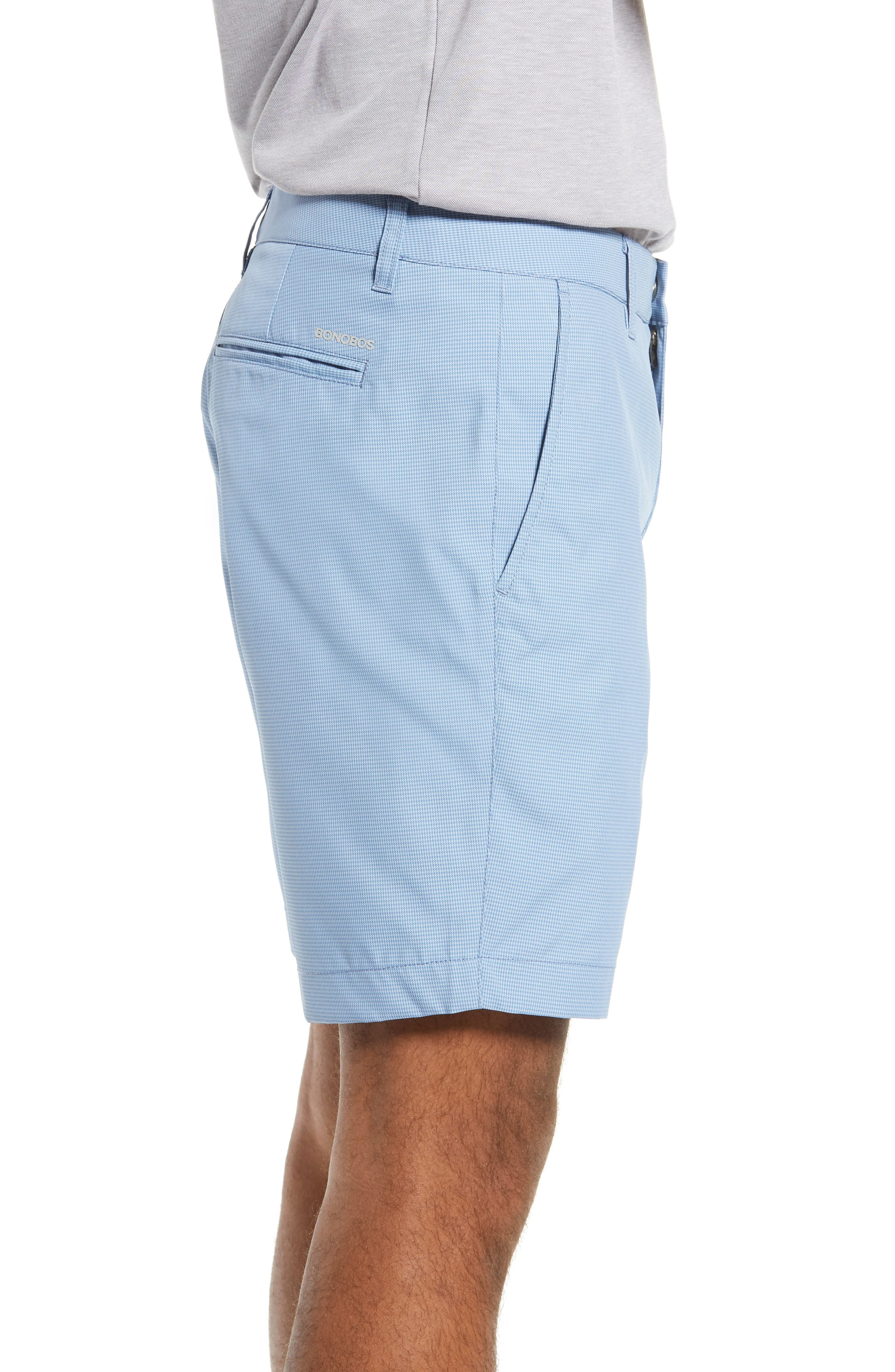 BONOBOS, The Highland Micro Houndstooth Golf Shorts, Alternate thumbnail 3, color, BLUE MINICHECK C3