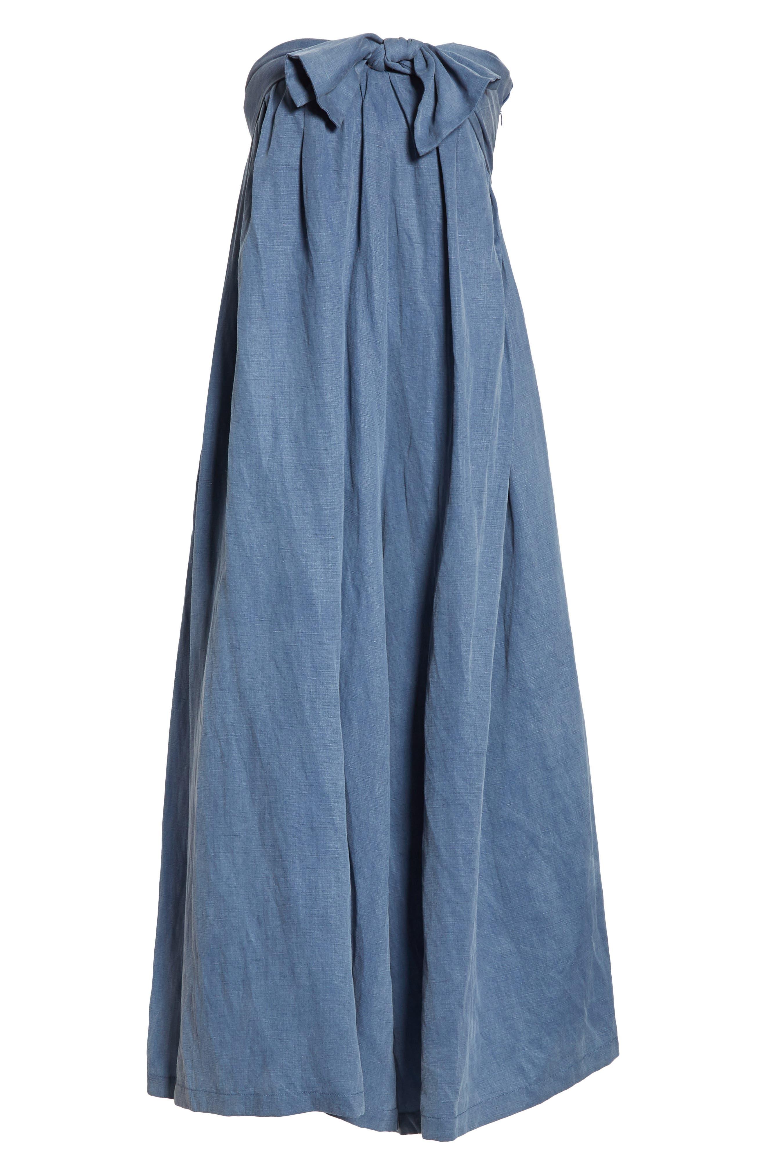ULLA JOHNSON, Jordane Strapless Wide Leg Jumpsuit, Alternate thumbnail 6, color, CHAMBRAY