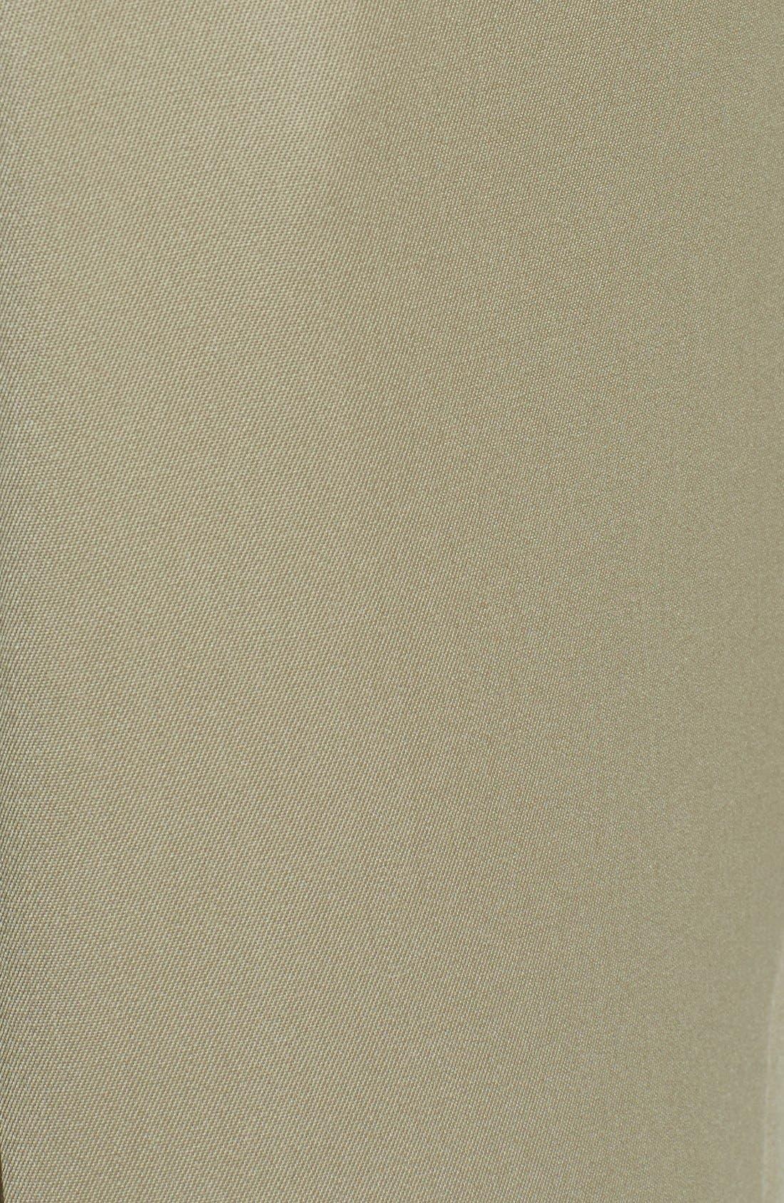 BERLE, Pleated Wool Gabardine Trousers, Alternate thumbnail 5, color, TAN