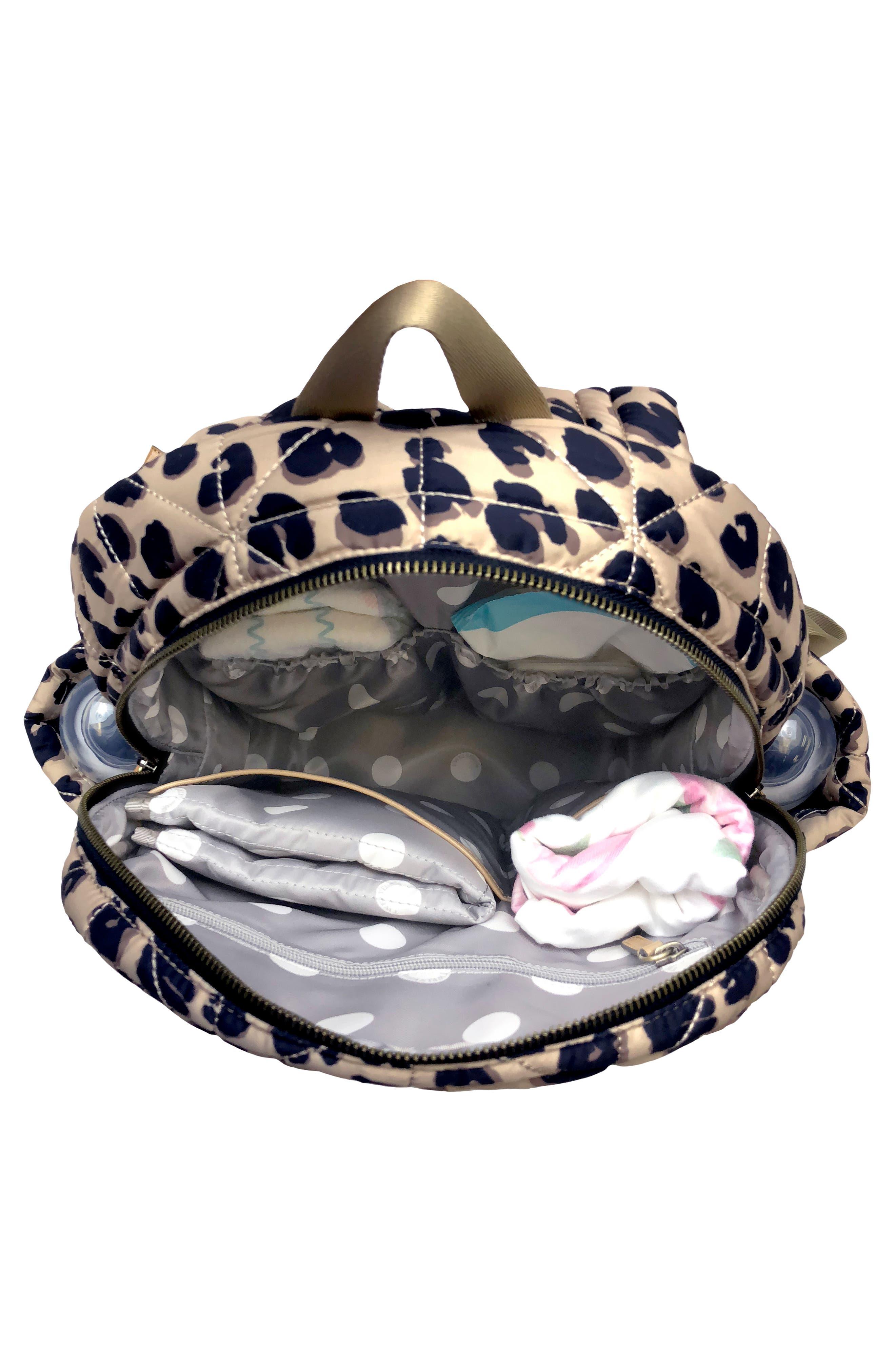 TWELVELITTLE, Quilted Water Resistant Nylon Diaper Backpack, Alternate thumbnail 3, color, LEOPARD PRINT