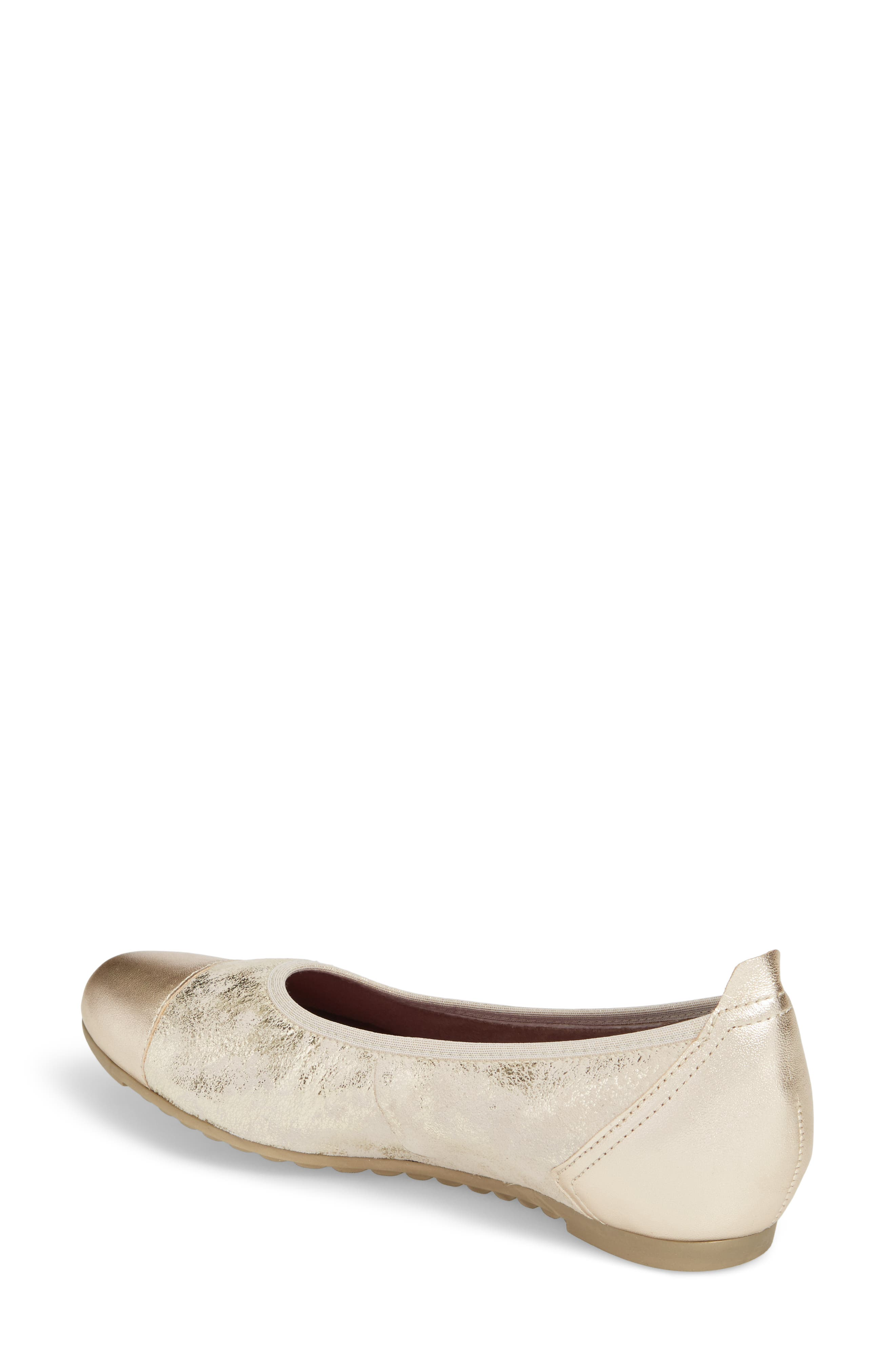 MUNRO, Henlee Cap Toe Flat, Alternate thumbnail 2, color, PLATINUM SHIMMER LEATHER
