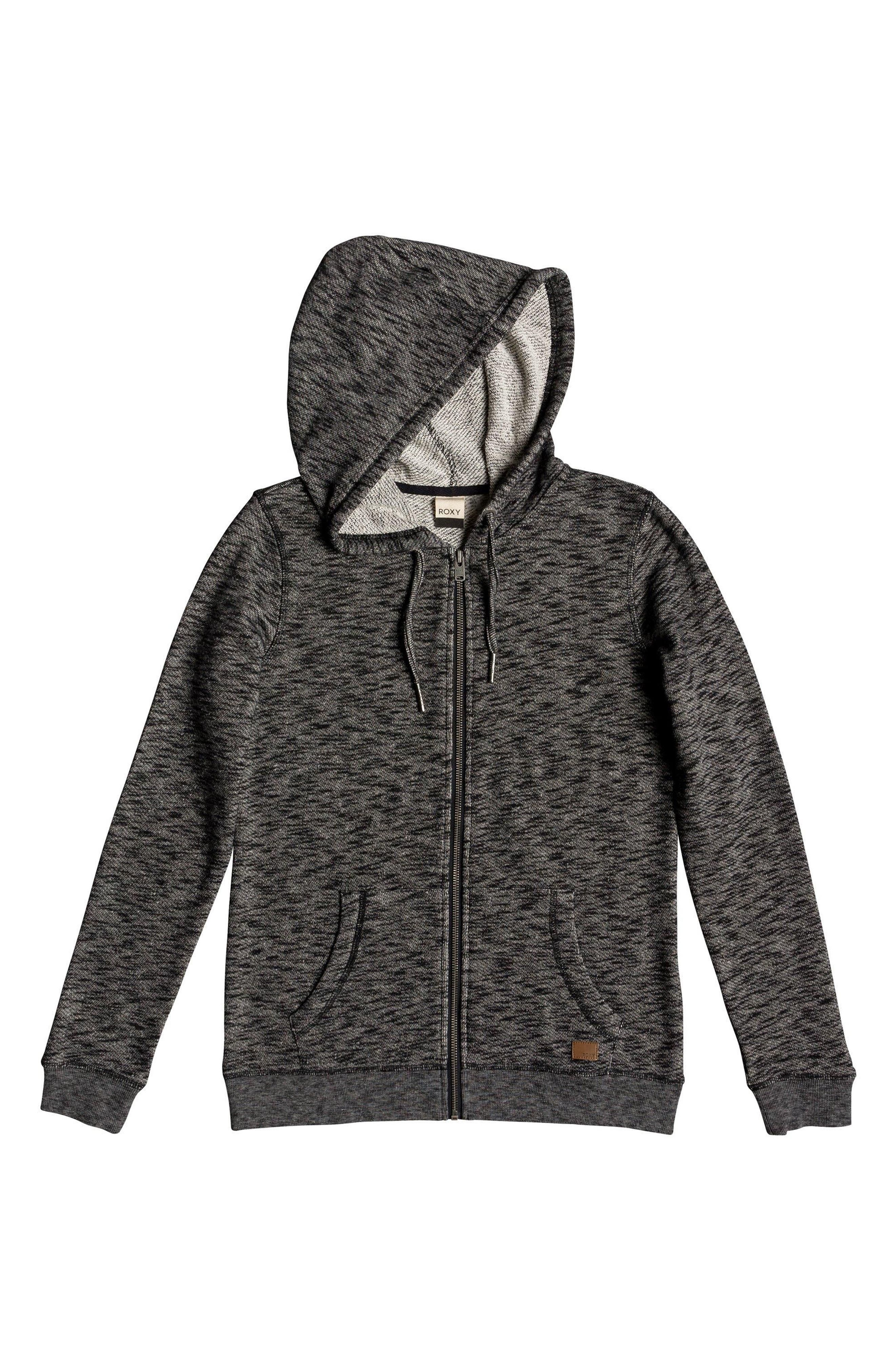 ROXY, Trippin Hoodie, Alternate thumbnail 3, color, ANTHRACITE HEATHER