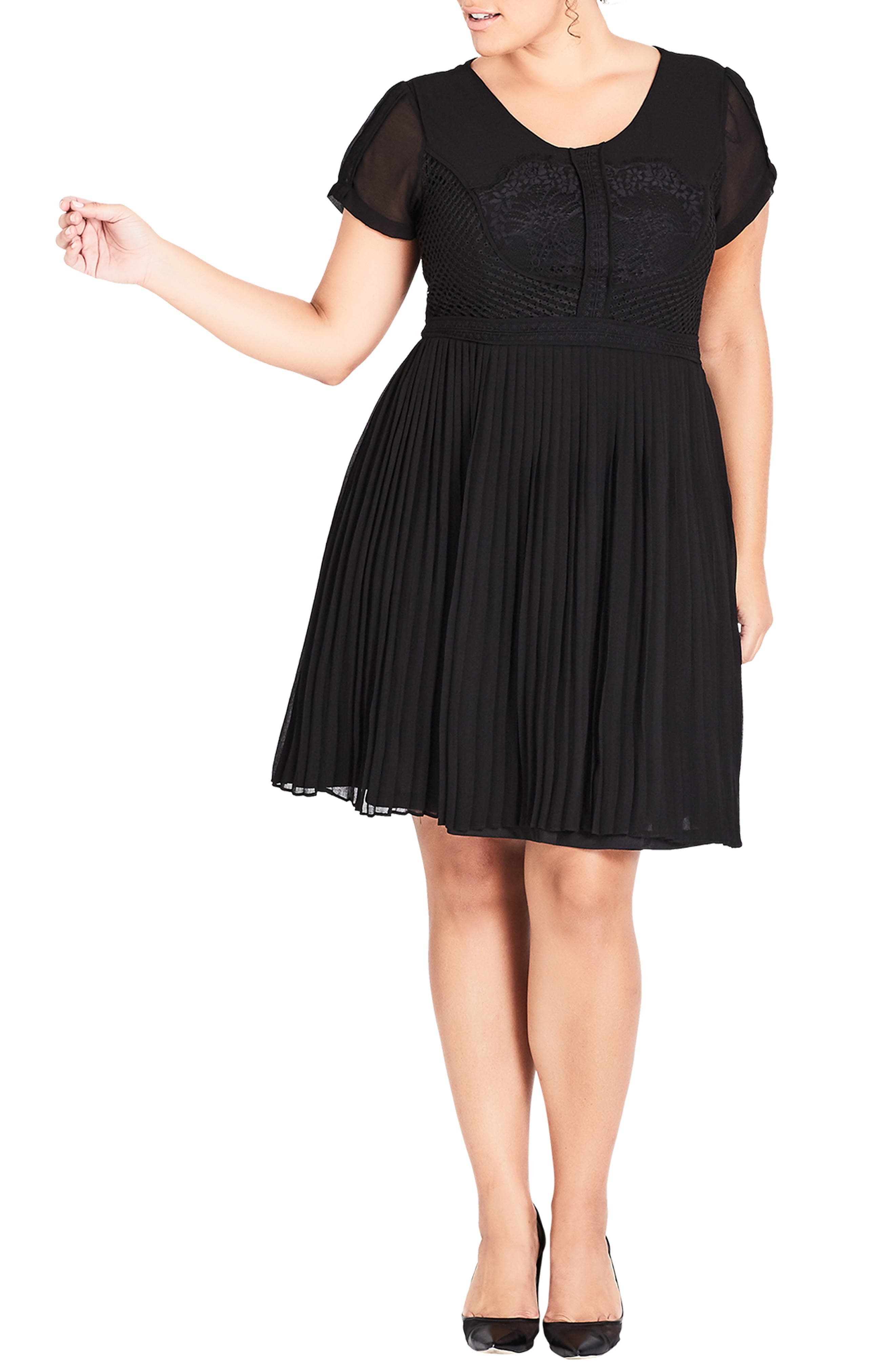 Plus Size City Chic Allure Pleated Fit And Flare Dress
