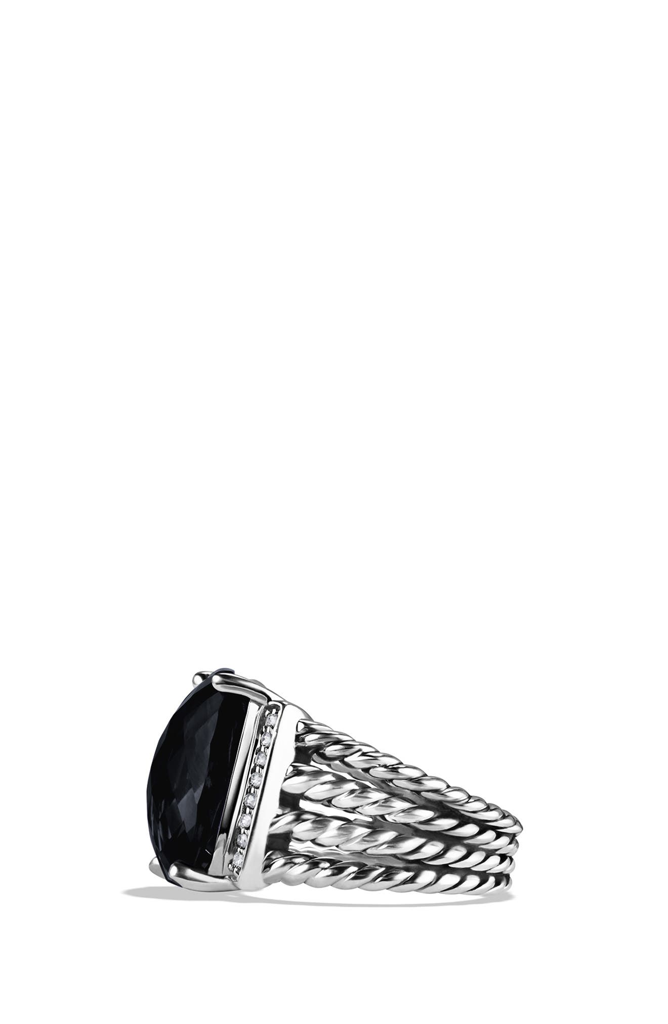 DAVID YURMAN, 'Wheaton' Ring with Semiprecious Stone & Diamonds, Alternate thumbnail 2, color, BLACK ONYX