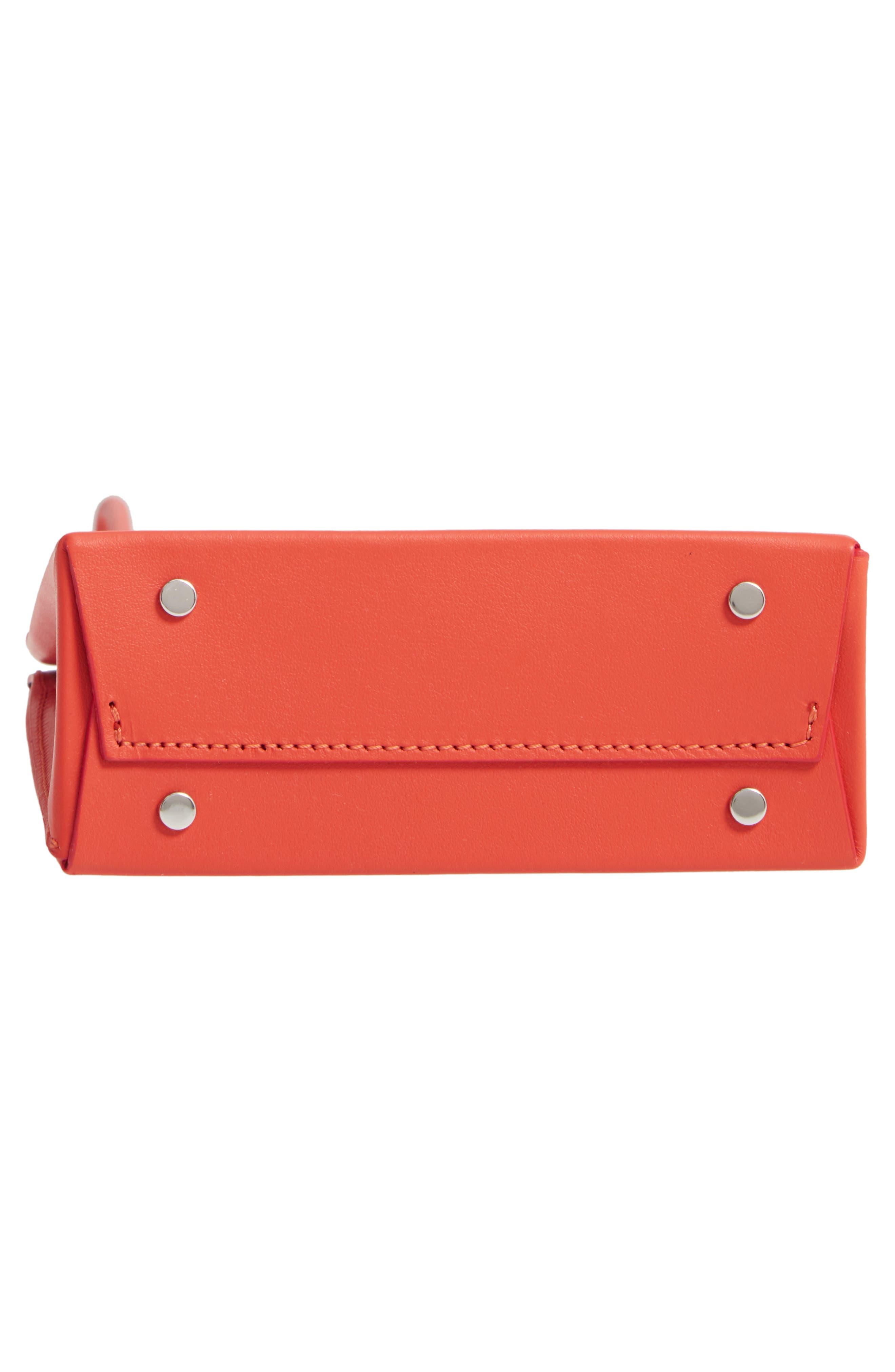 MEDEA, Prima Short Calfskin Leather Bag, Alternate thumbnail 6, color, ORANGE
