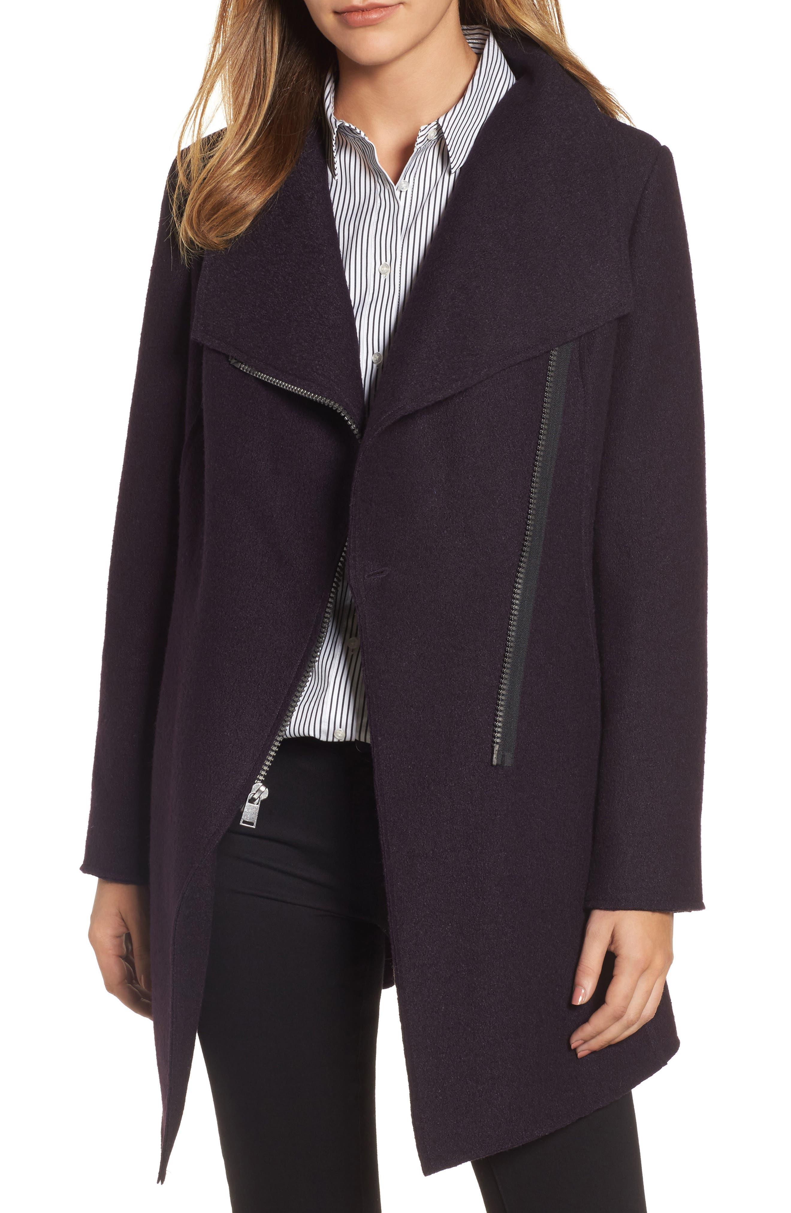 HALOGEN<SUP>®</SUP>, Asymmetrical Zip Boiled Wool Blend Coat, Main thumbnail 1, color, 500