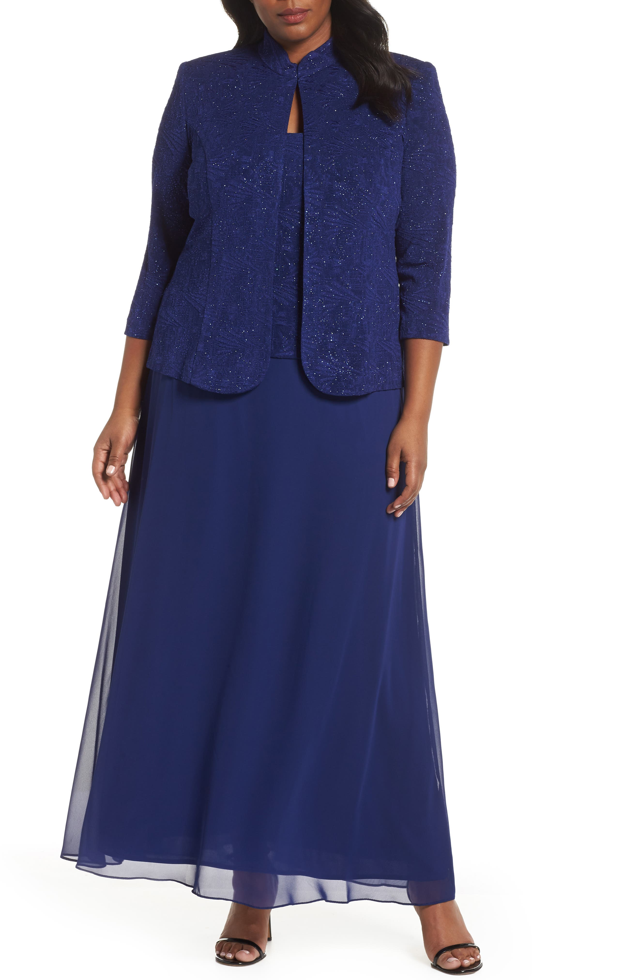 Plus Size Alex Evenings Lace & Chiffon Gown With Jacket
