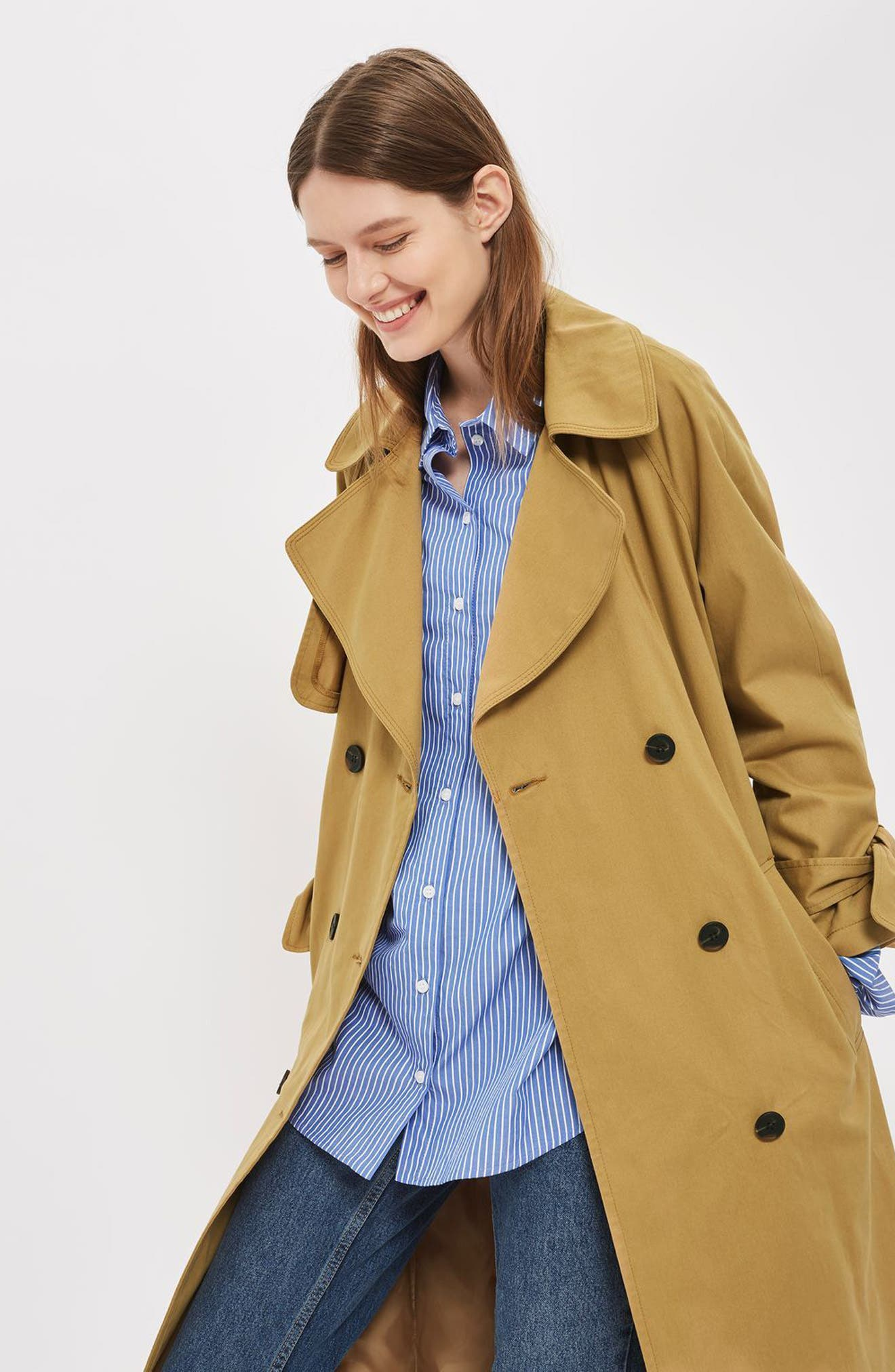 TOPSHOP, Editor's Double Breasted Trench Coat, Alternate thumbnail 4, color, 200