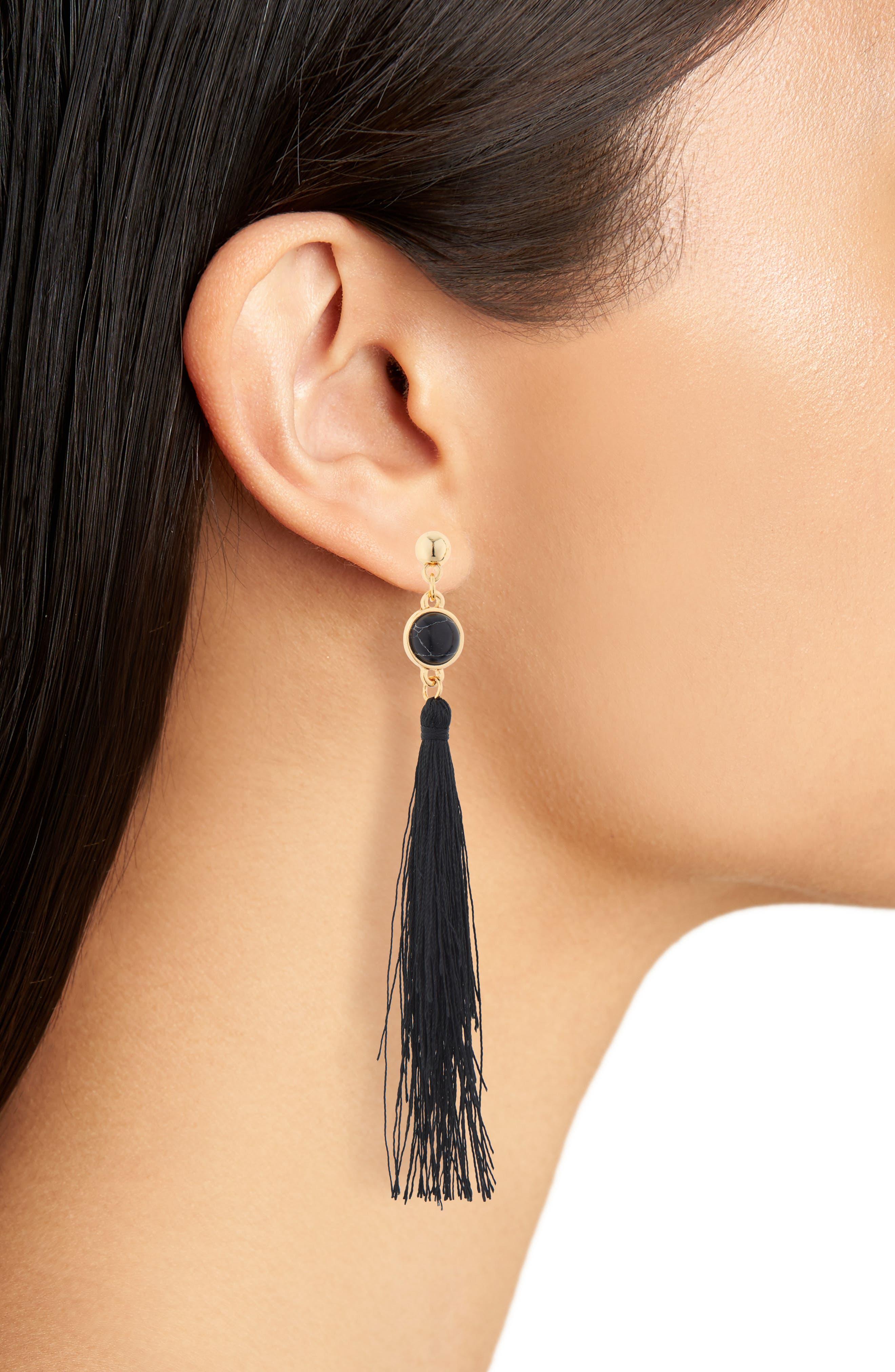 UNCOMMON JAMES BY KRISTIN CAVALLARI, Strawberry Fields Jasper Tassel Earrings, Alternate thumbnail 2, color, BLACK