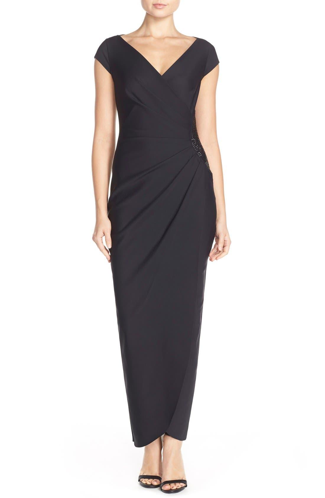 Alex Evenings Embellished Jersey Column Gown, Black