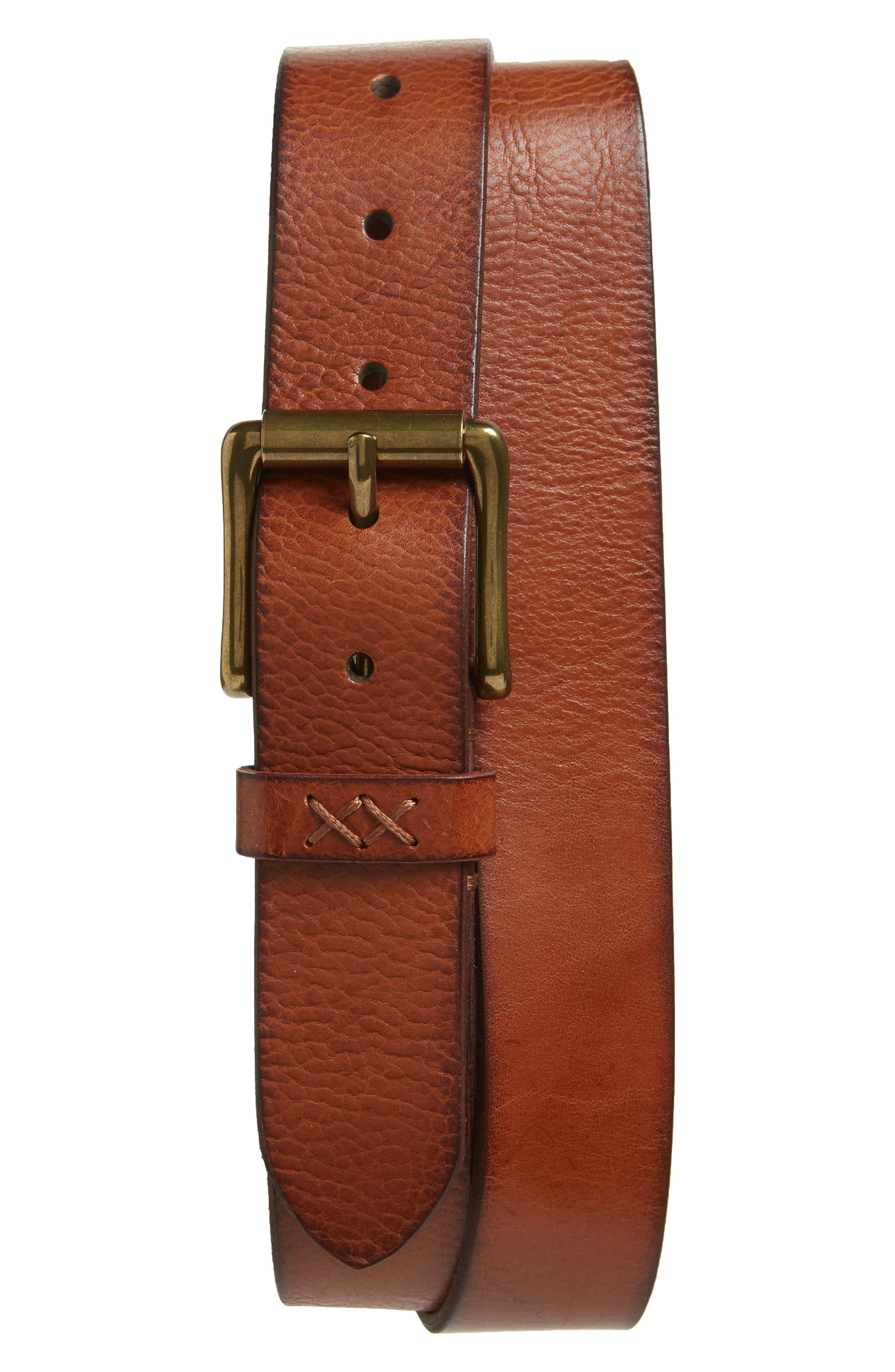 FRYE Flat Panel Leather Belt, Main, color, COGNAC