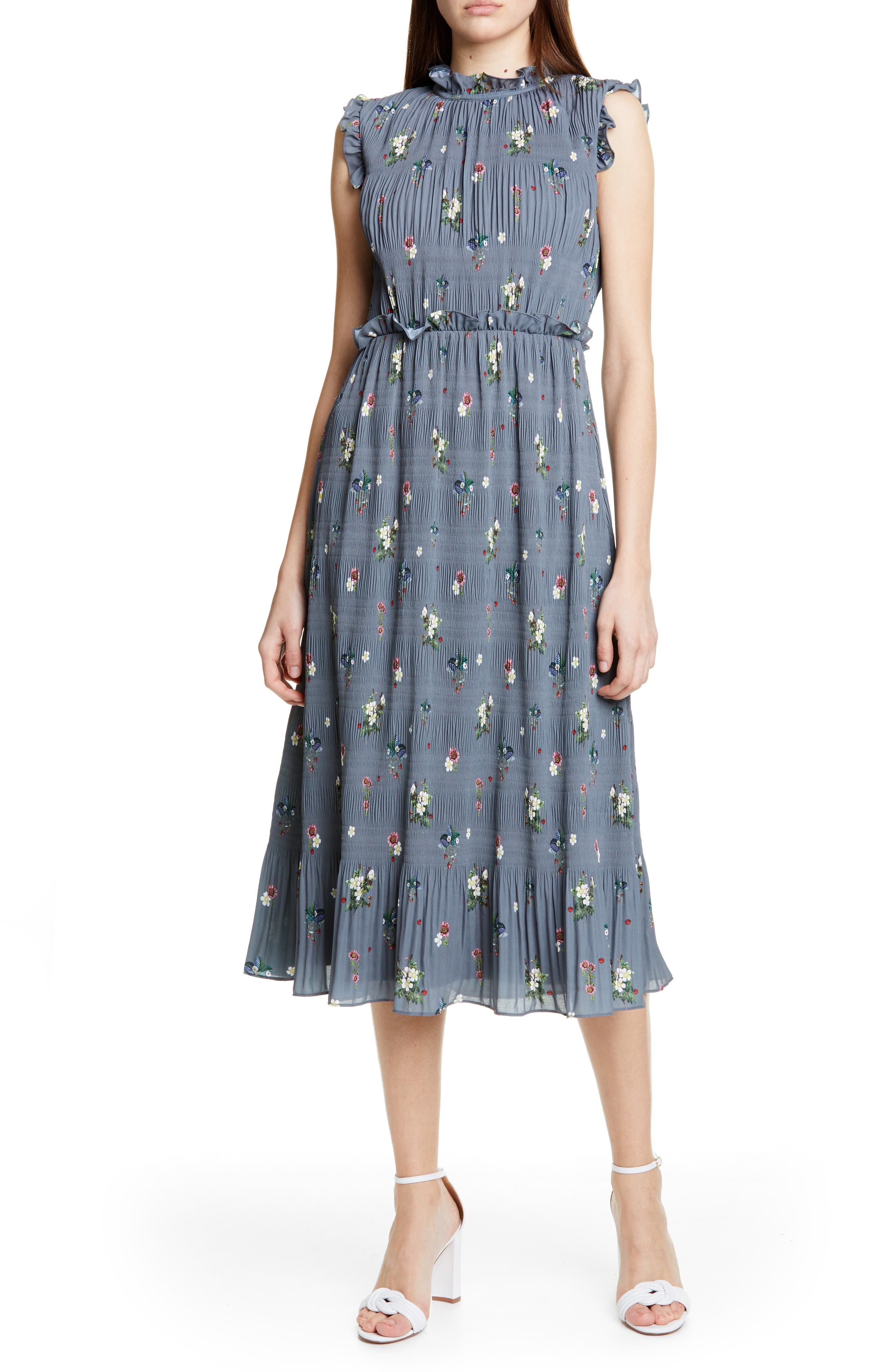Ted Baker London Toppaz Oracle Plisse Dress, Grey