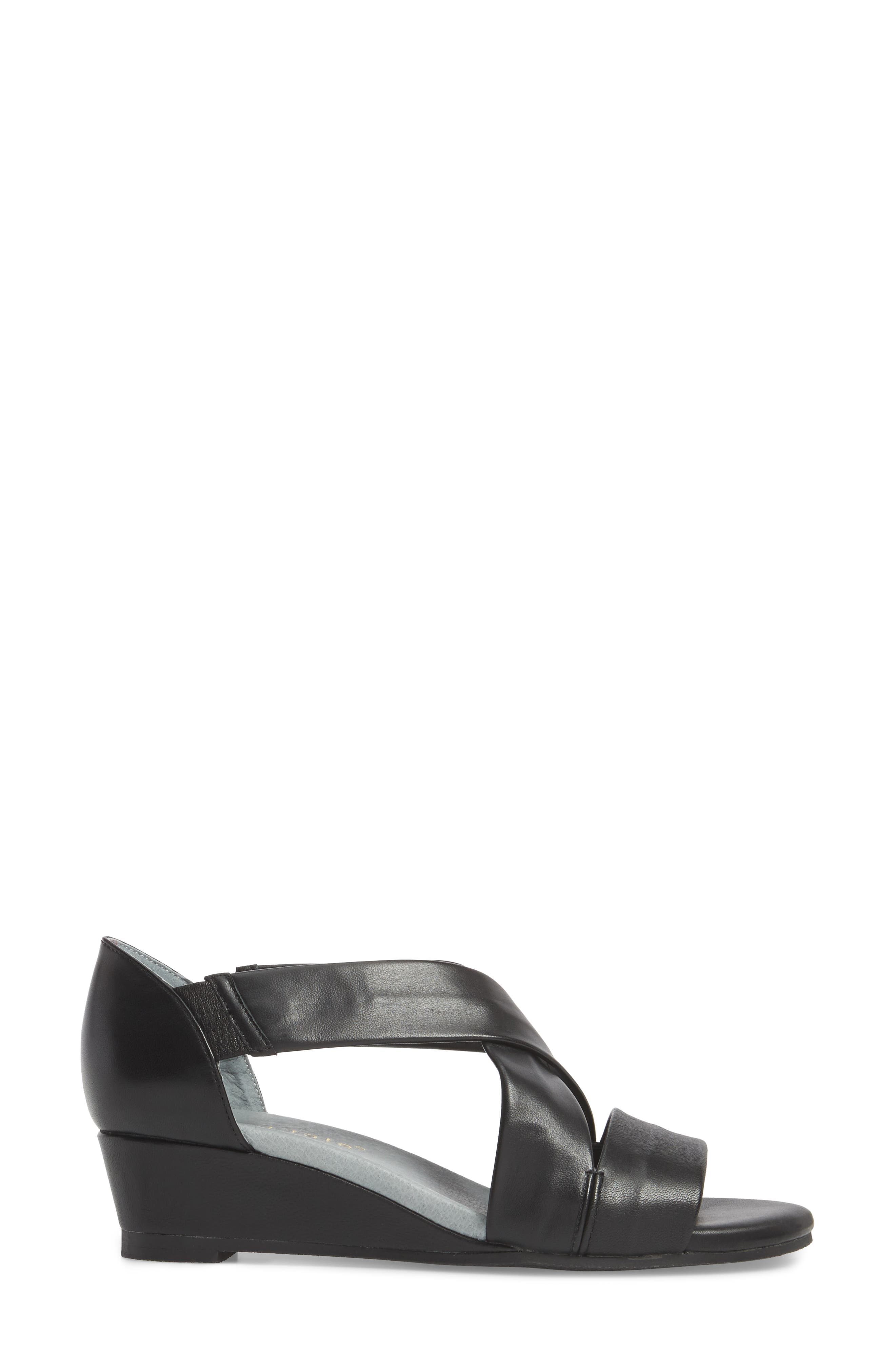 DAVID TATE, Swell Cross Strap Wedge Sandal, Alternate thumbnail 3, color, BLACK LEATHER