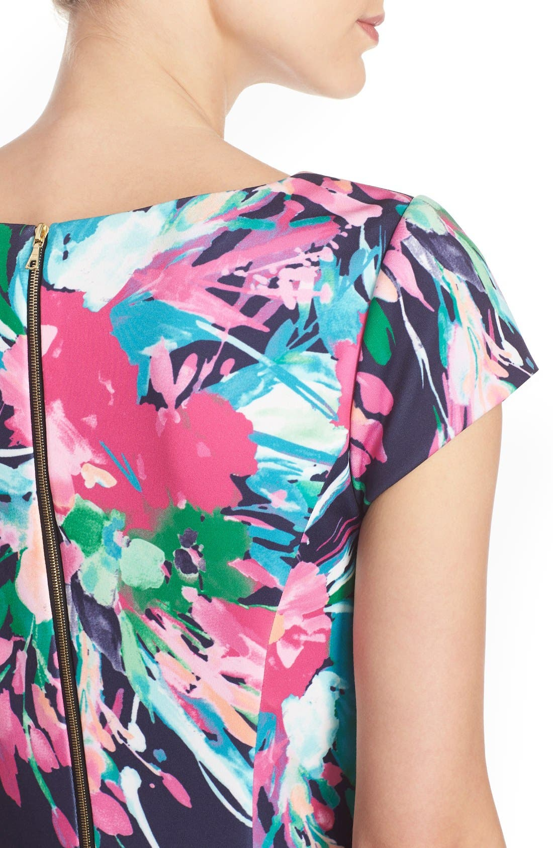 ELIZA J, Floral Print Scuba Fit & Flare Dress, Alternate thumbnail 3, color, 470