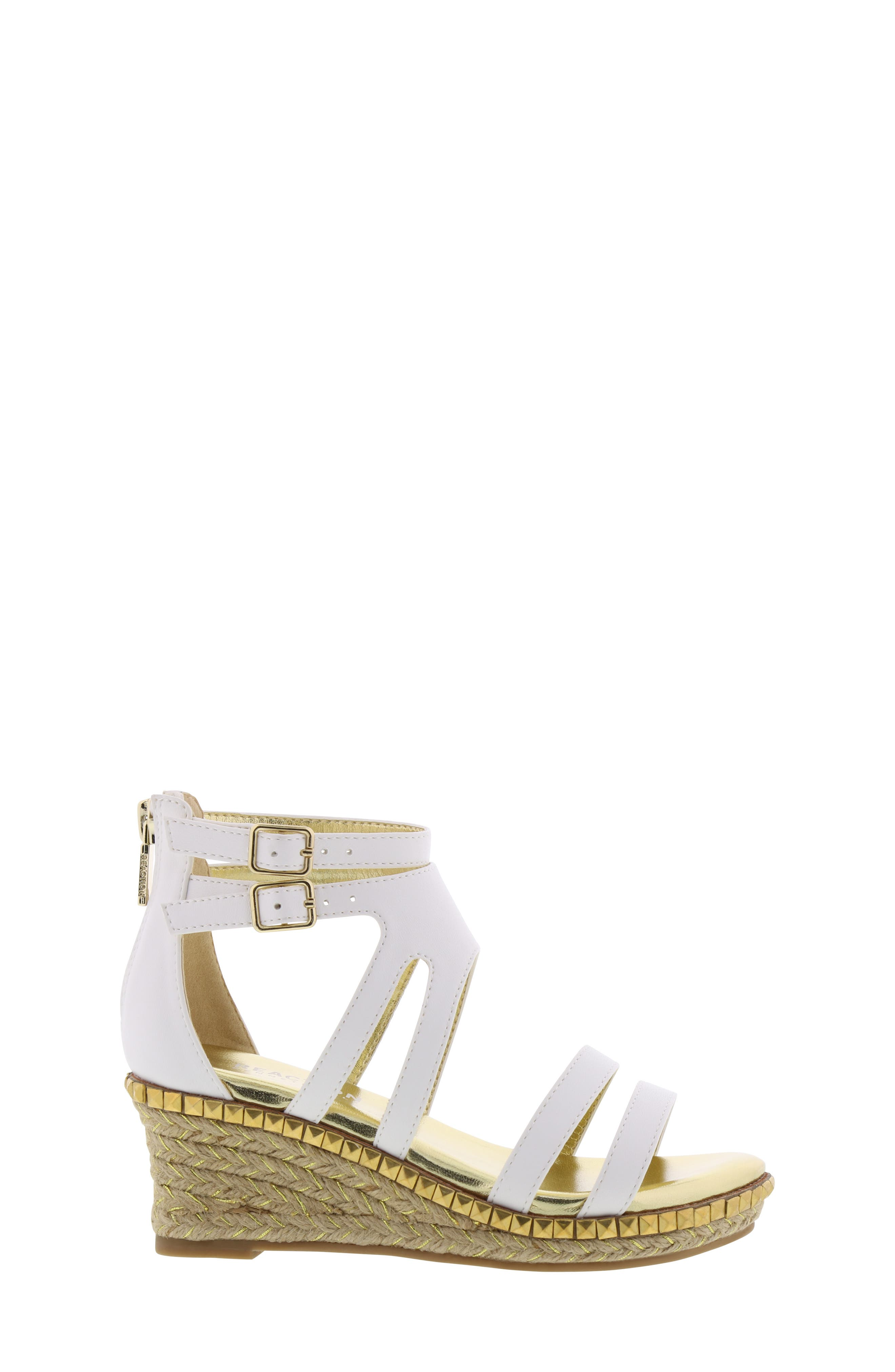 REACTION KENNETH COLE, Reed Splash Wedge Sandal, Alternate thumbnail 3, color, WHITE