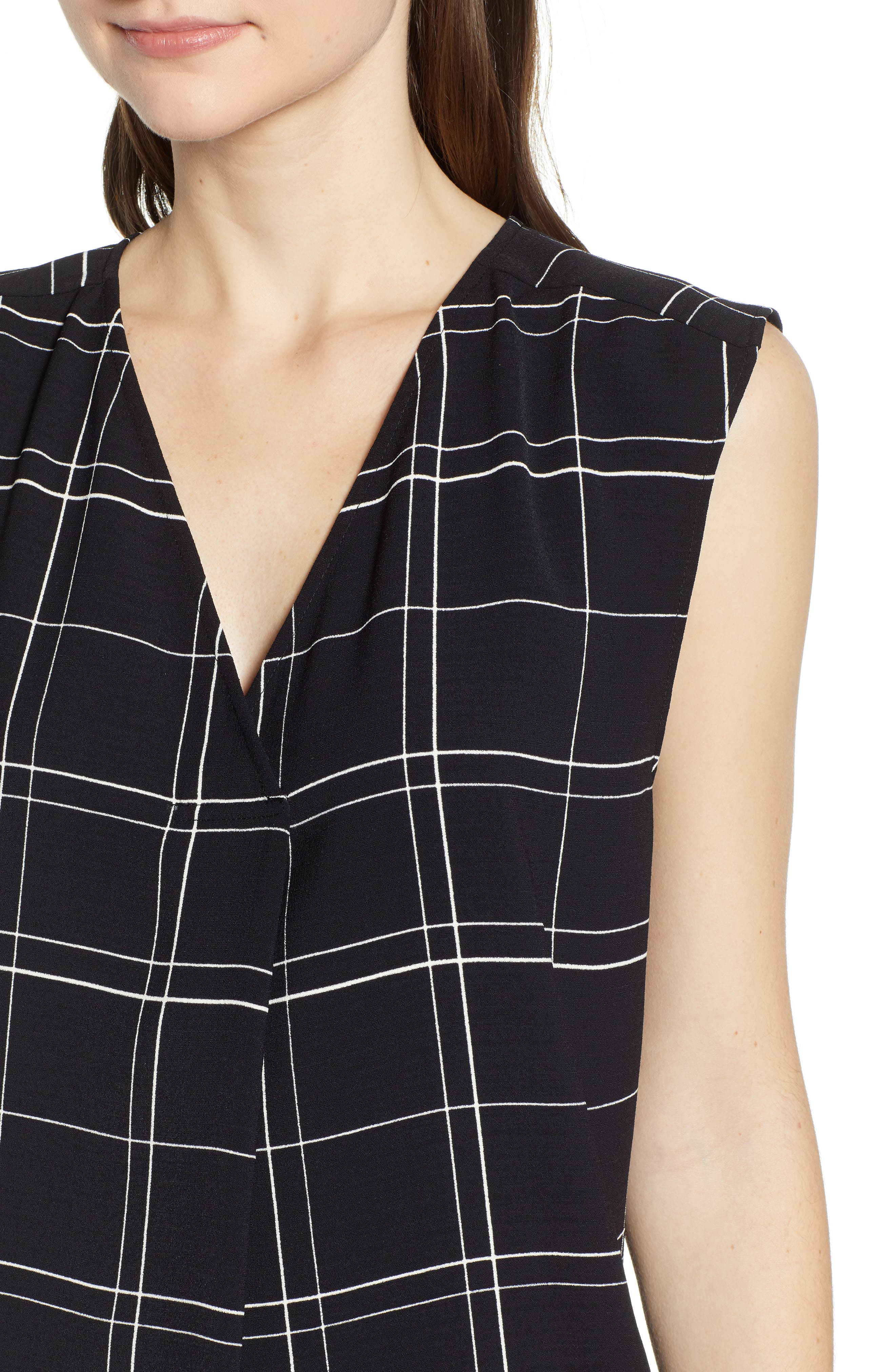 LEITH, Everyday Dress, Alternate thumbnail 5, color, BLACK GLAM CITY CHECK