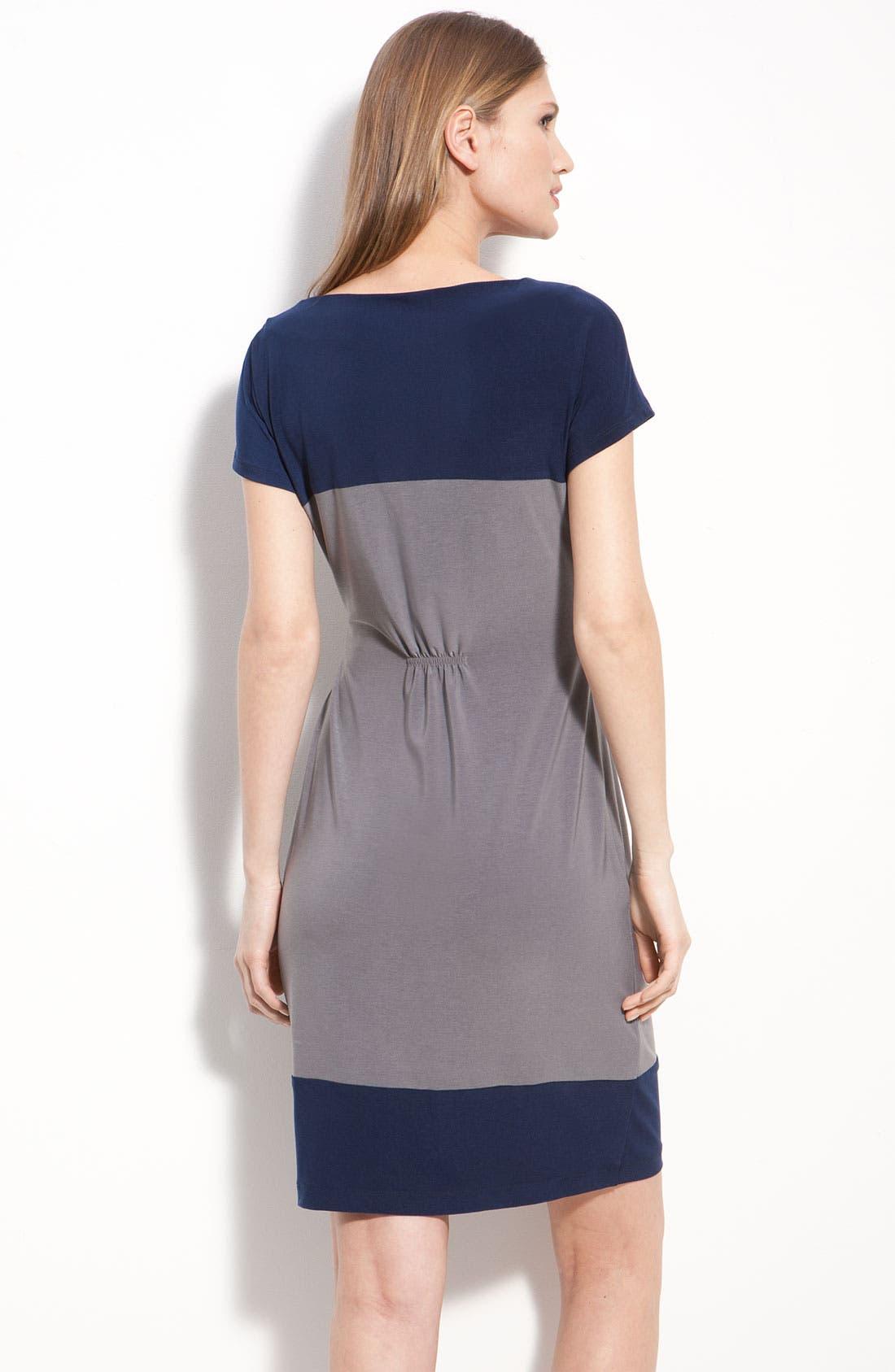 ALEX & AVA, Twist Front Colorblock Jersey Sheath Dress, Alternate thumbnail 3, color, 020