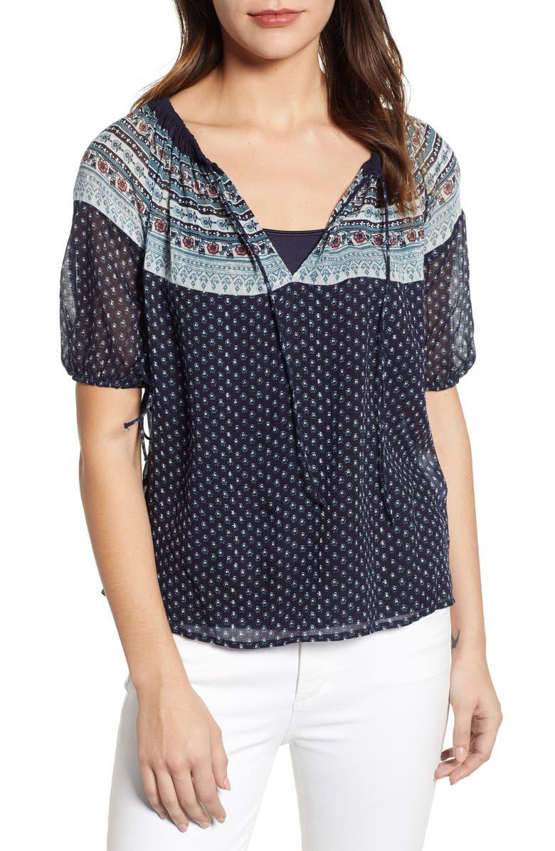 Lucky Brand Tops PRINT PEASANT TOP