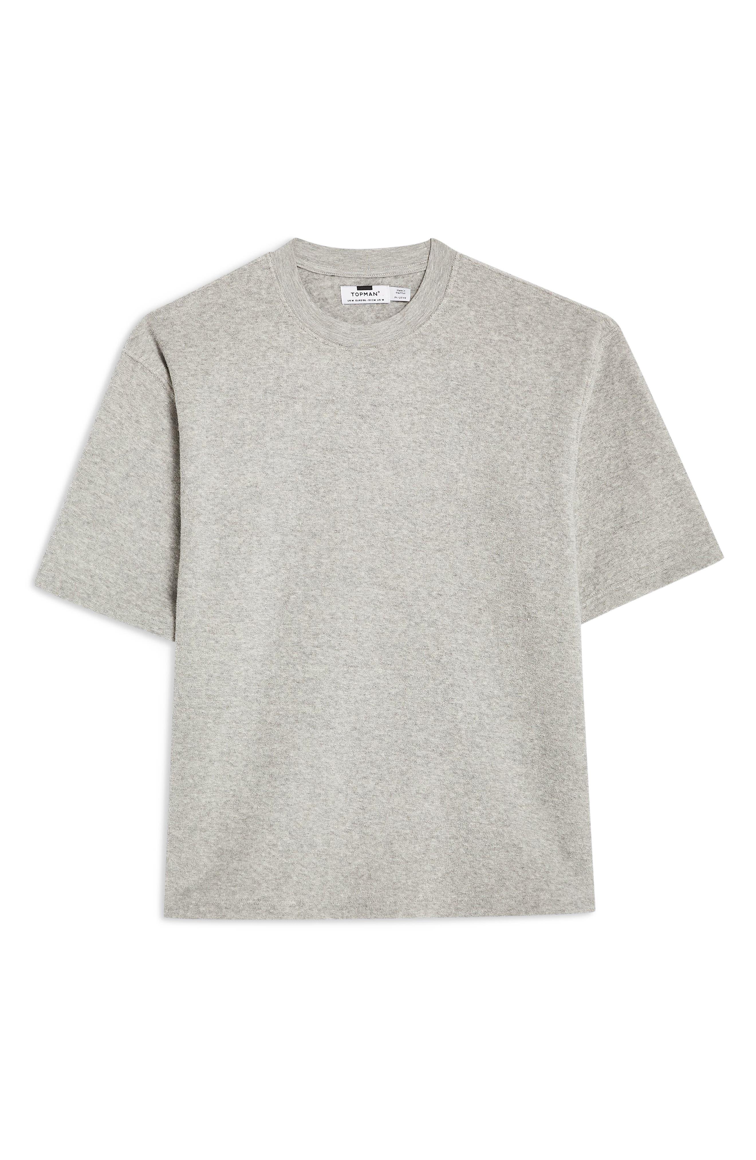 TOPMAN, Short Sleeve Terry Sweatshirt, Alternate thumbnail 3, color, GREY