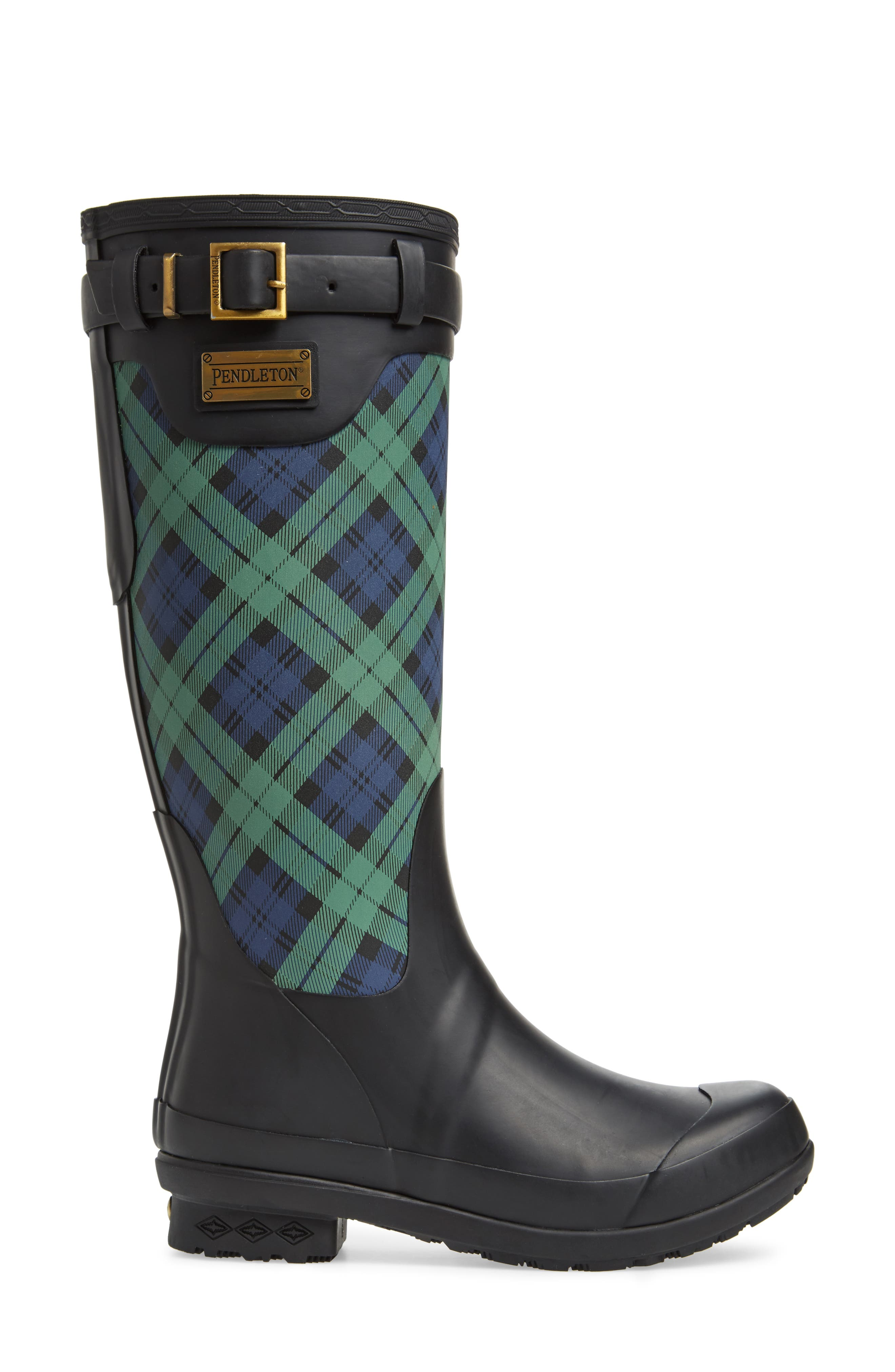 PENDLETON, Heritage Black Watch Tartan Tall Waterproof Boot, Alternate thumbnail 3, color, NAVY