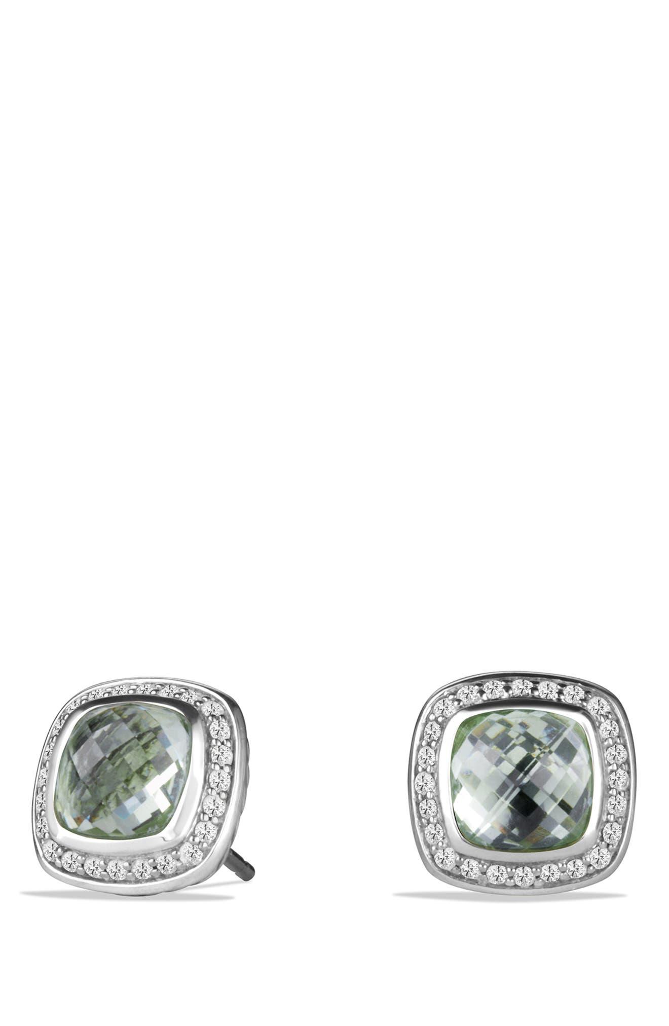 DAVID YURMAN, 'Albion' Earrings with Semiprecious Stone and Diamonds, Main thumbnail 1, color, PRASIOLITE