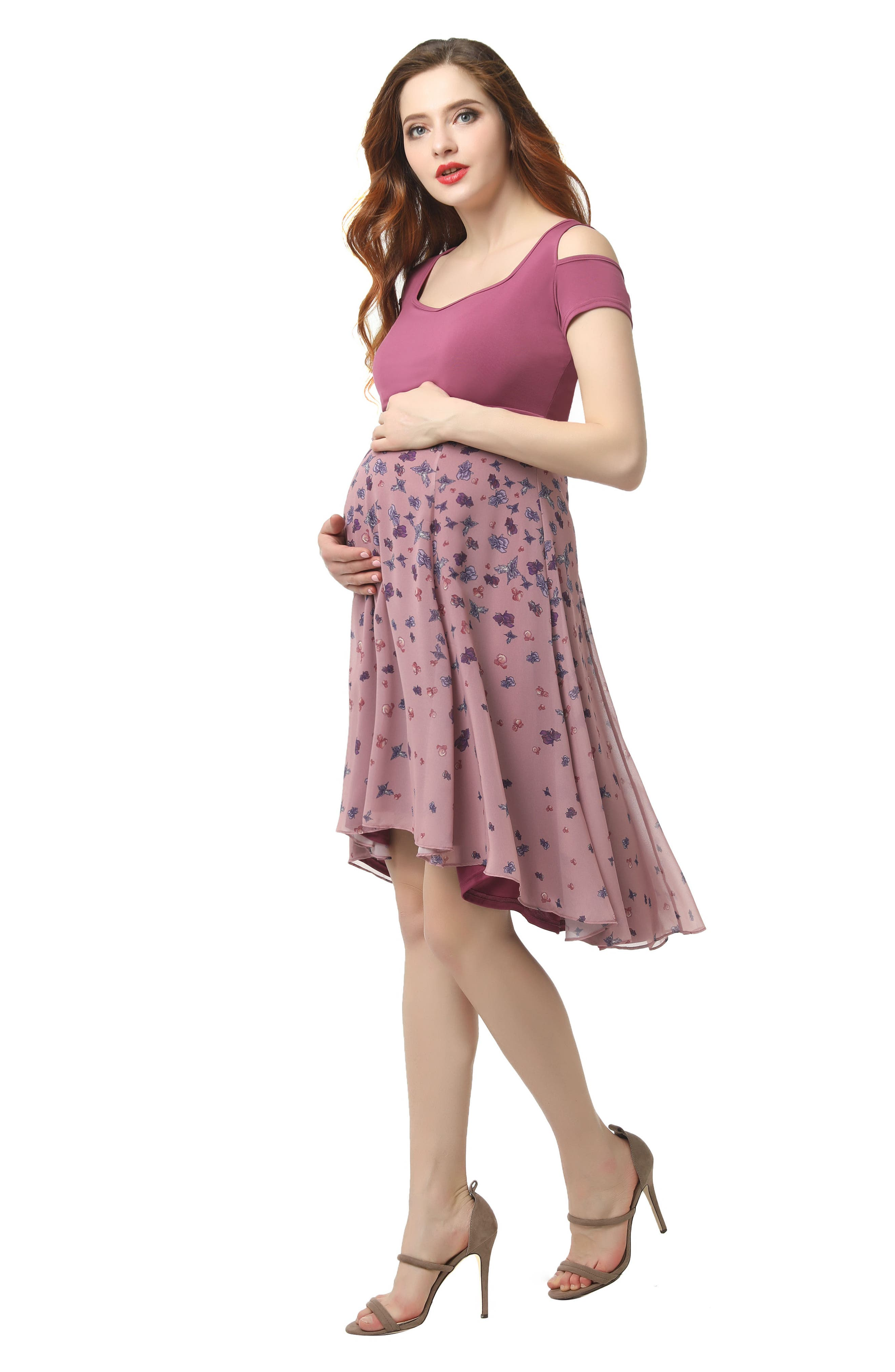 KIMI AND KAI, Erica Cold Shoulder Maternity Dress, Alternate thumbnail 5, color, ROSE PINK