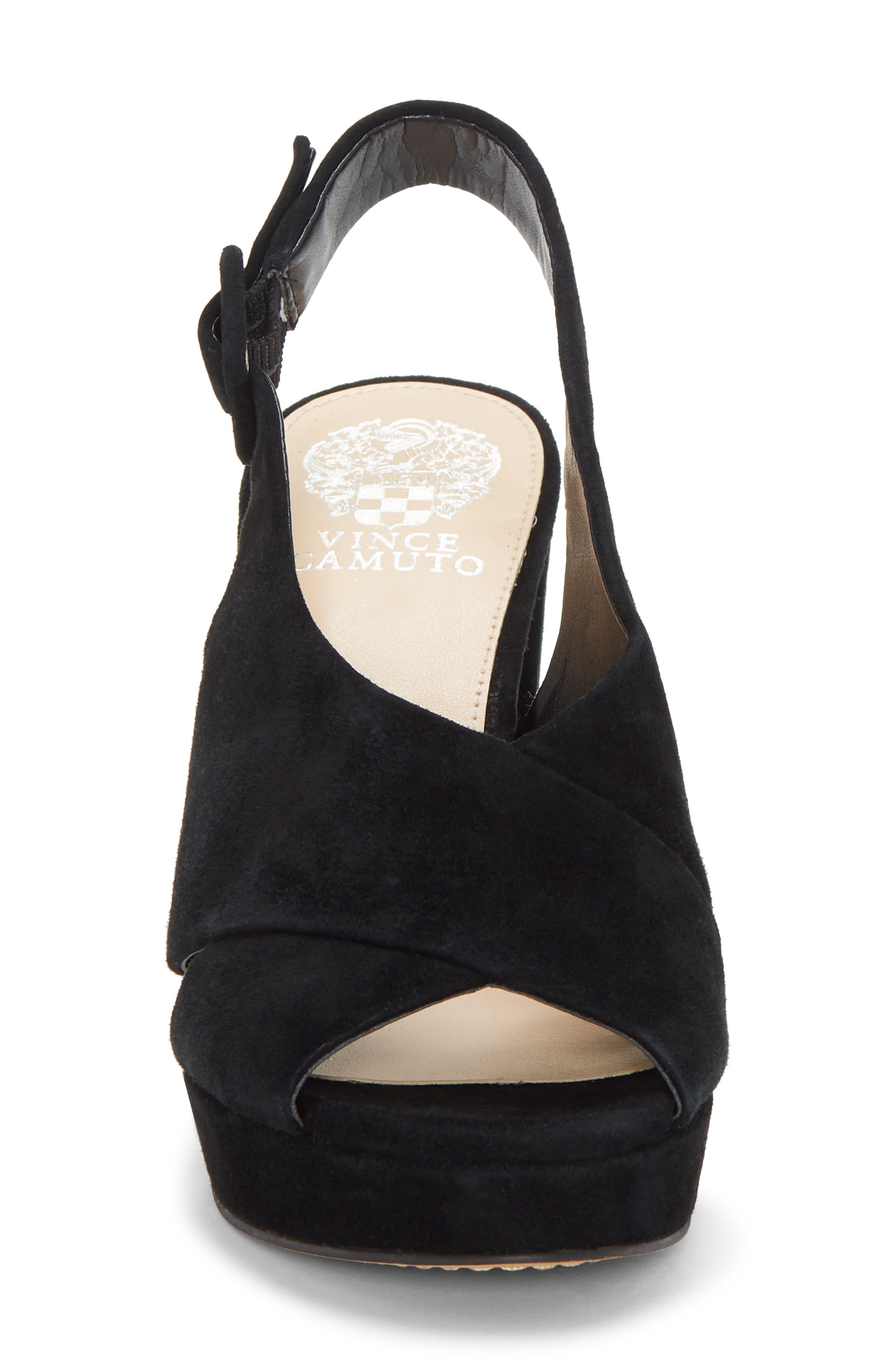 VINCE CAMUTO, Slingback Platform Sandal, Alternate thumbnail 4, color, BLACK 01 SUEDE