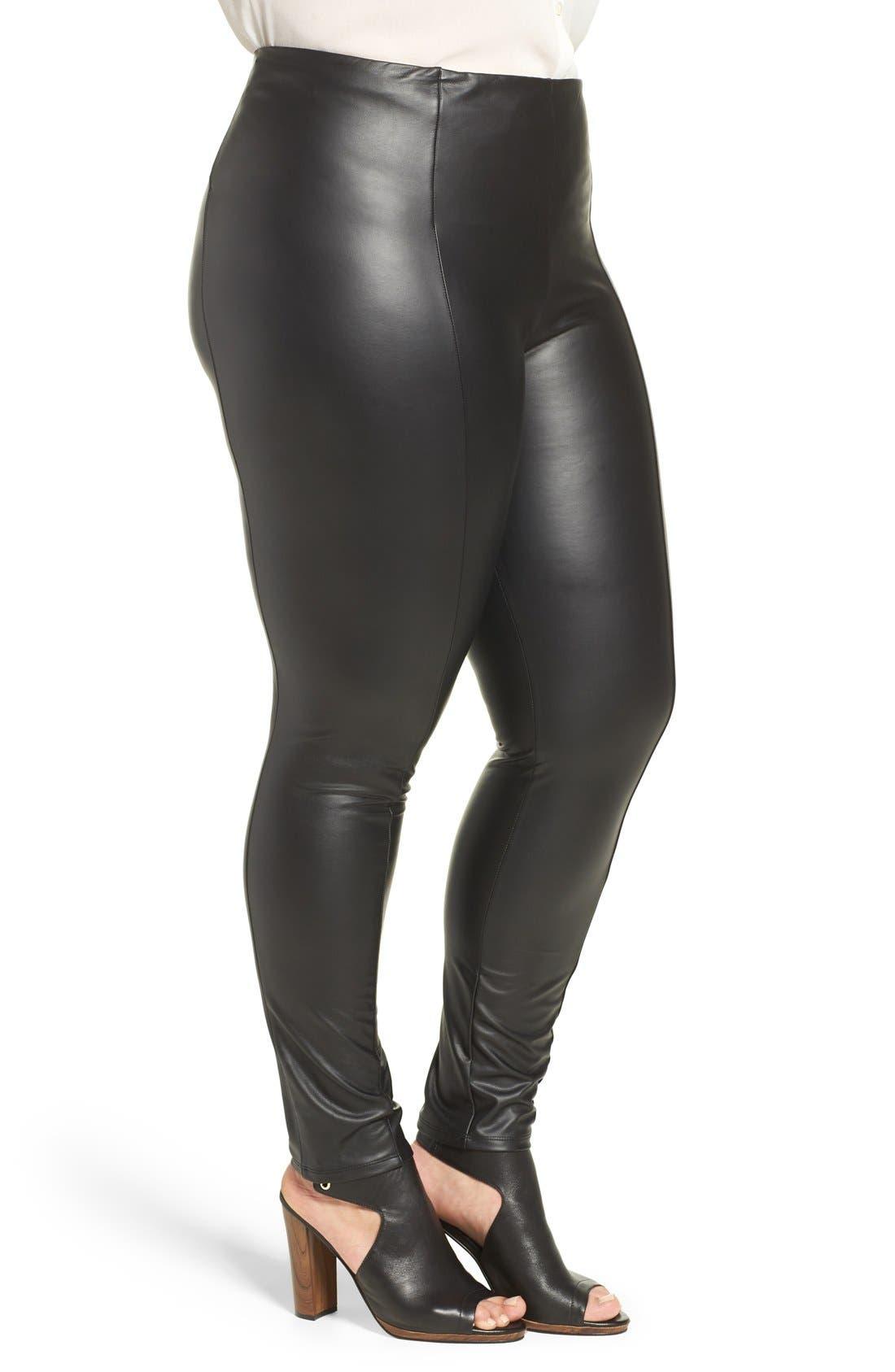 LYSSÉ, High Waist Faux Leather Leggings, Alternate thumbnail 2, color, 001