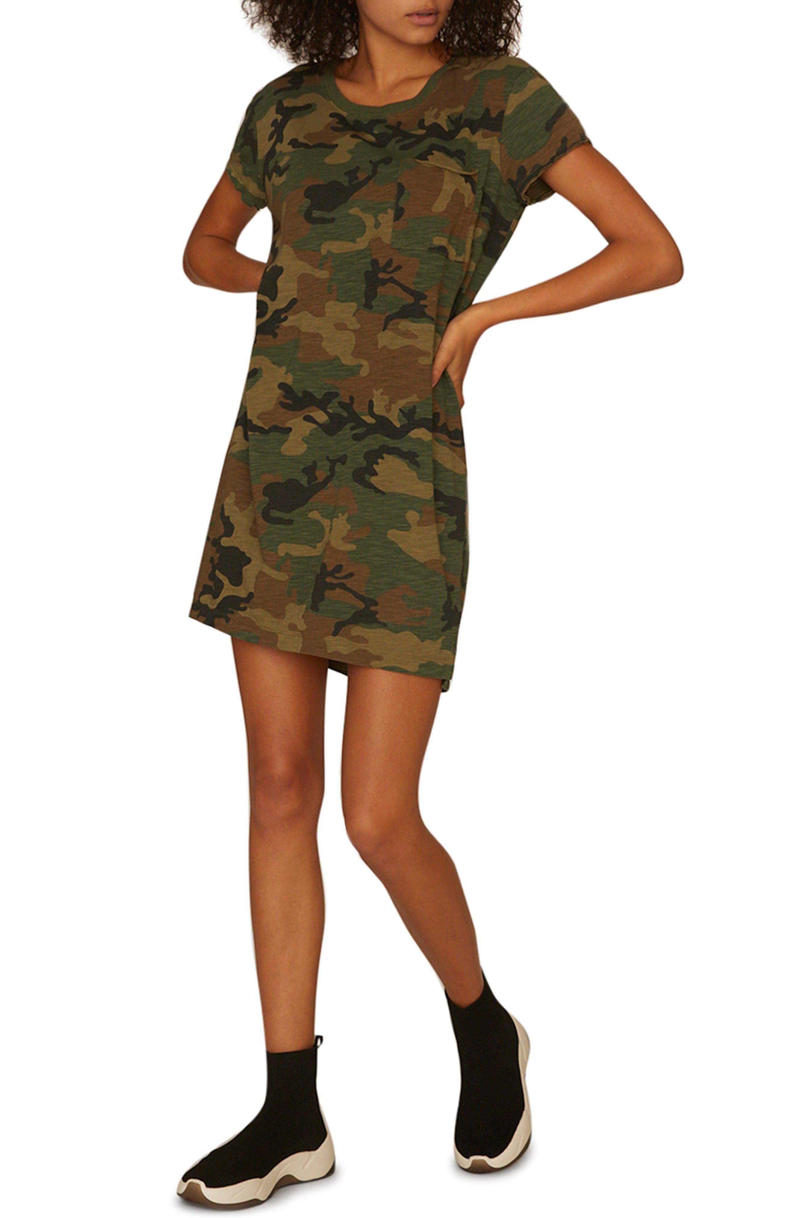SANCTUARY, Camo Print T-Shirt Dress, Main thumbnail 1, color, LOVE CAMO