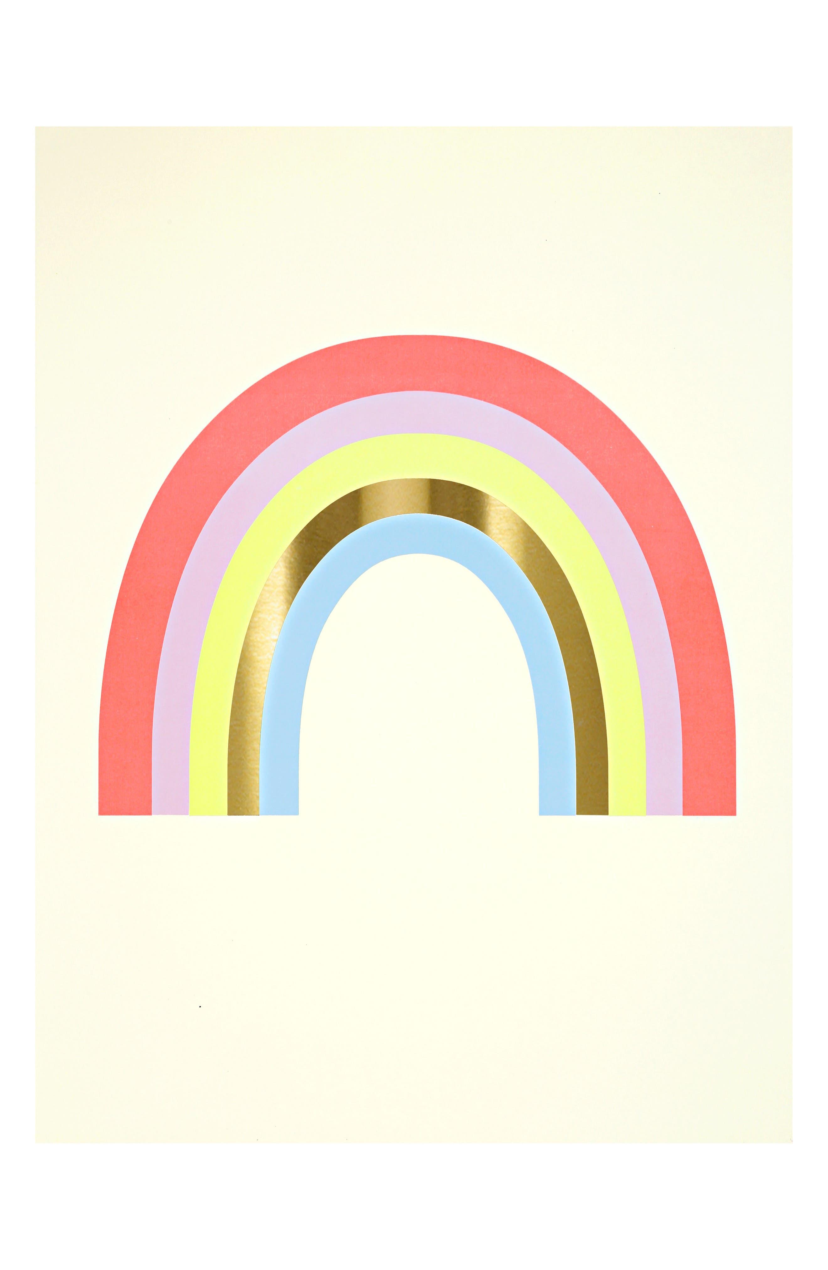 MERI MERI, Unicorn & Rainbow 2-Piece Art Print Set, Alternate thumbnail 2, color, PINK