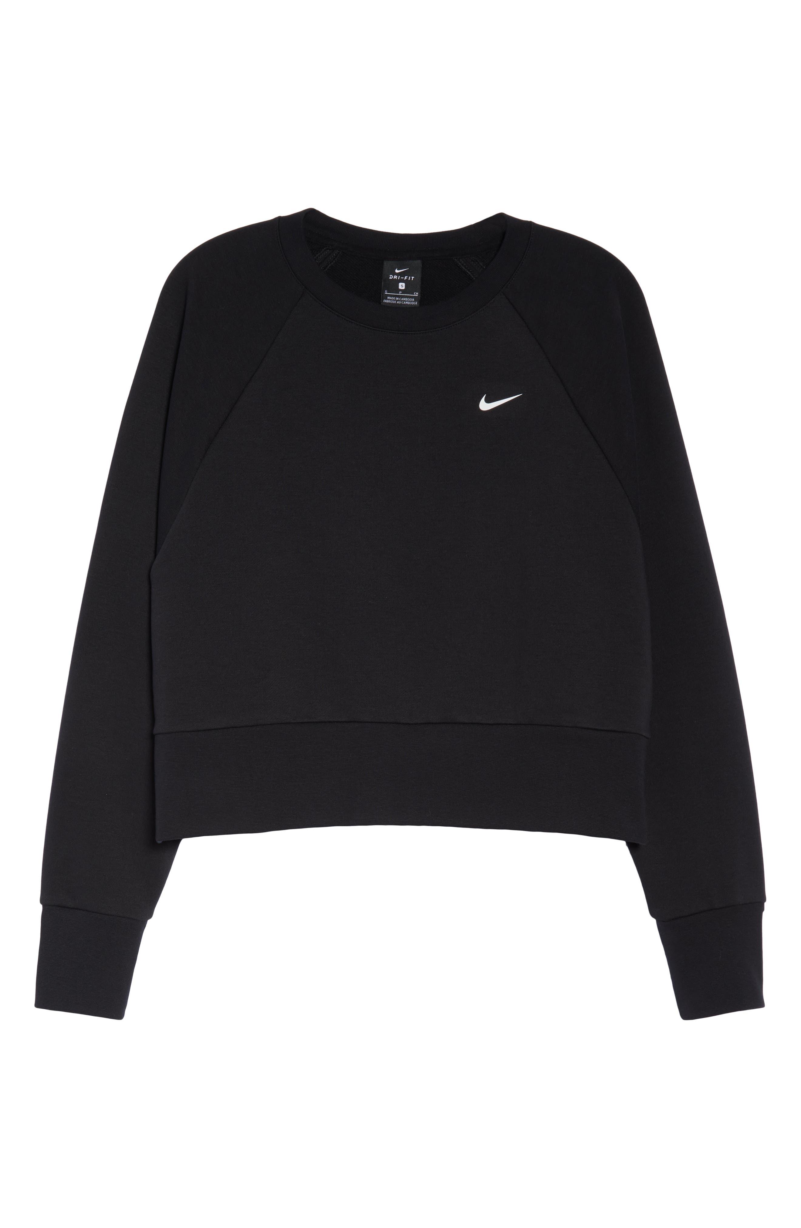 NIKE, Dry Crop Training Sweatshirt, Alternate thumbnail 7, color, BLACK/ WHITE