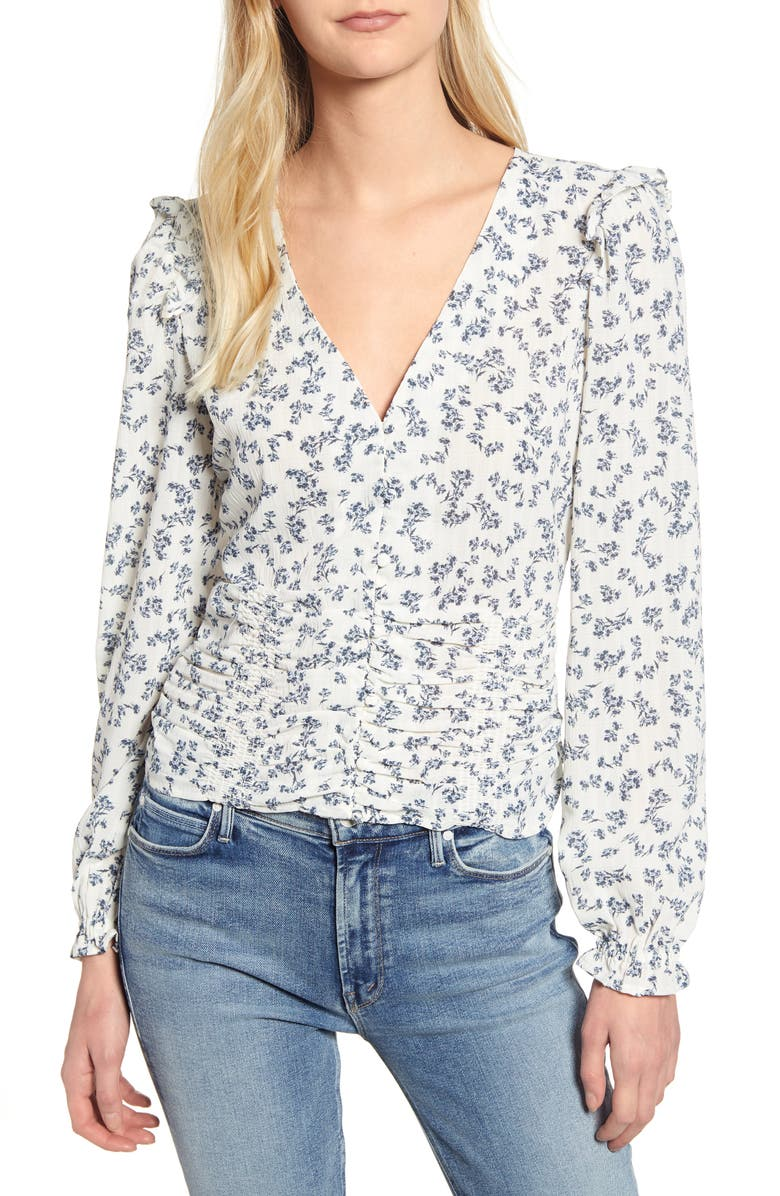 1.state Tops RUFFLE RUCHED FLORAL BLOUSE