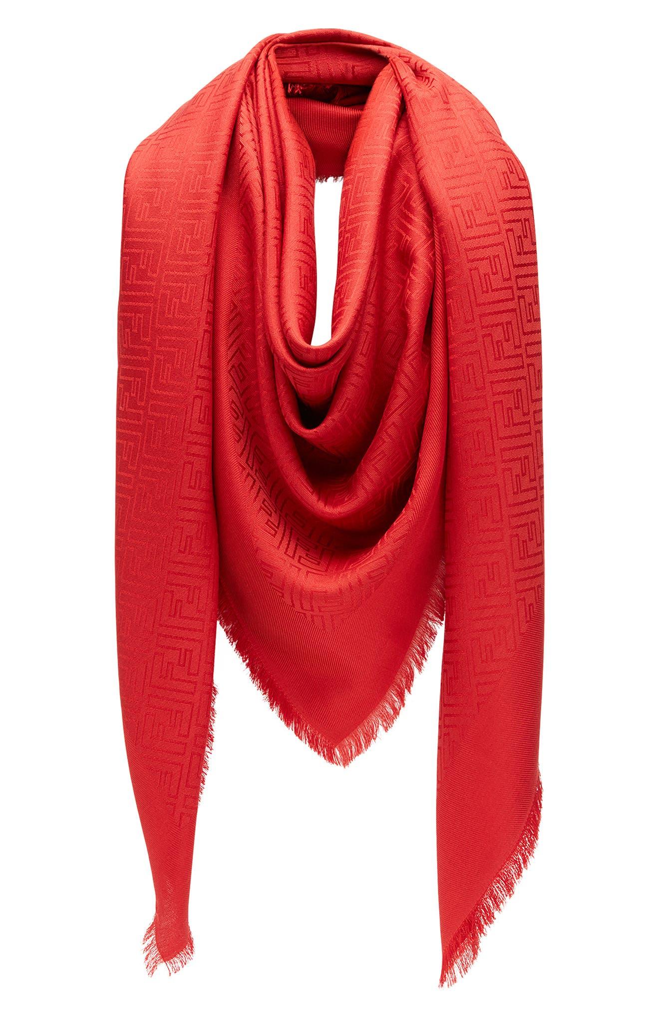FENDI, Logo Silk & Wool Scarf, Alternate thumbnail 3, color, DARK RED