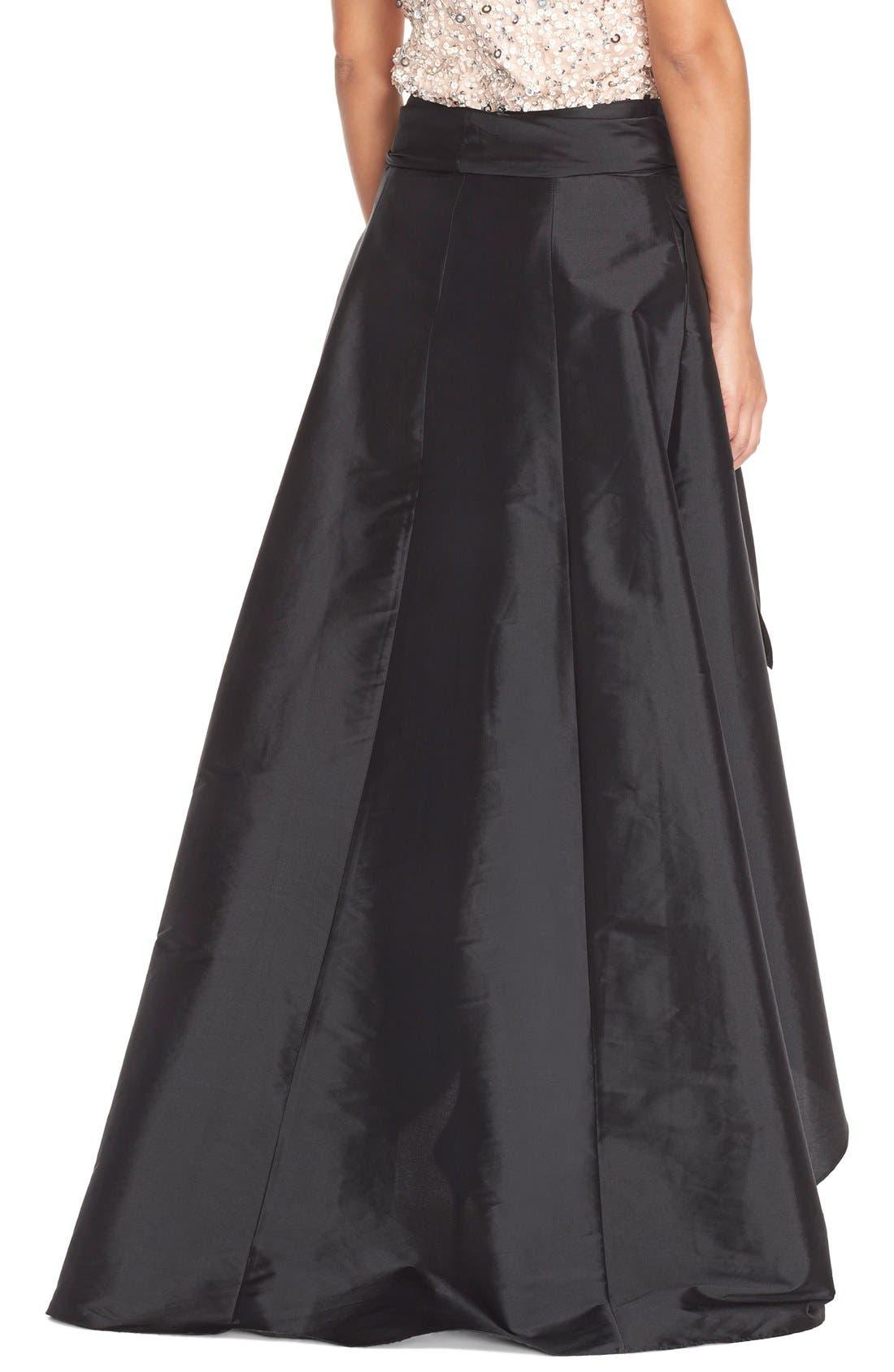 ADRIANNA PAPELL, High/Low Taffeta Ball Skirt, Alternate thumbnail 2, color, 001