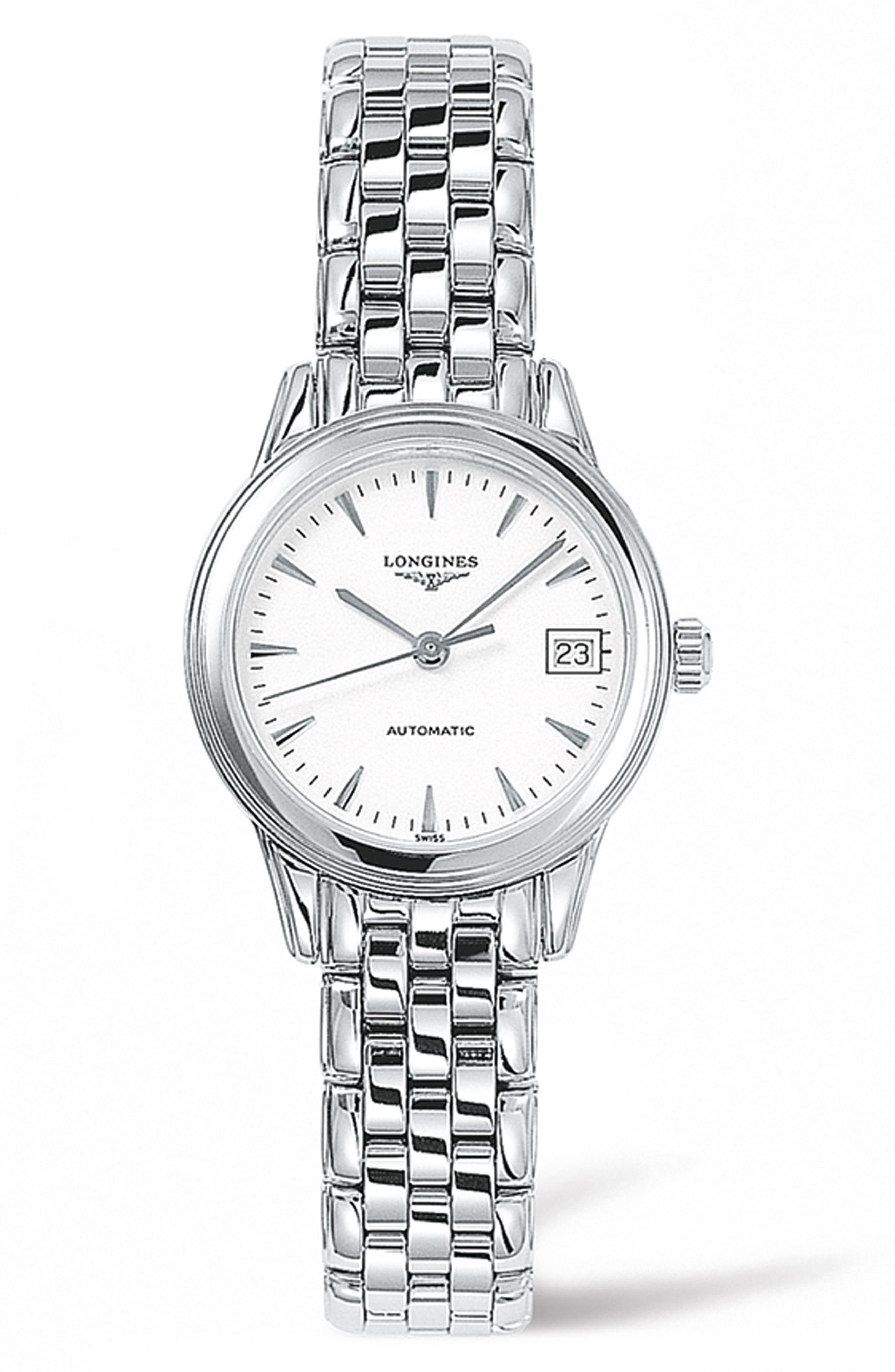 LONGINES, Flagship Automatic Bracelet Watch, 26mm, Main thumbnail 1, color, SILVER/ WHITE/ SILVER