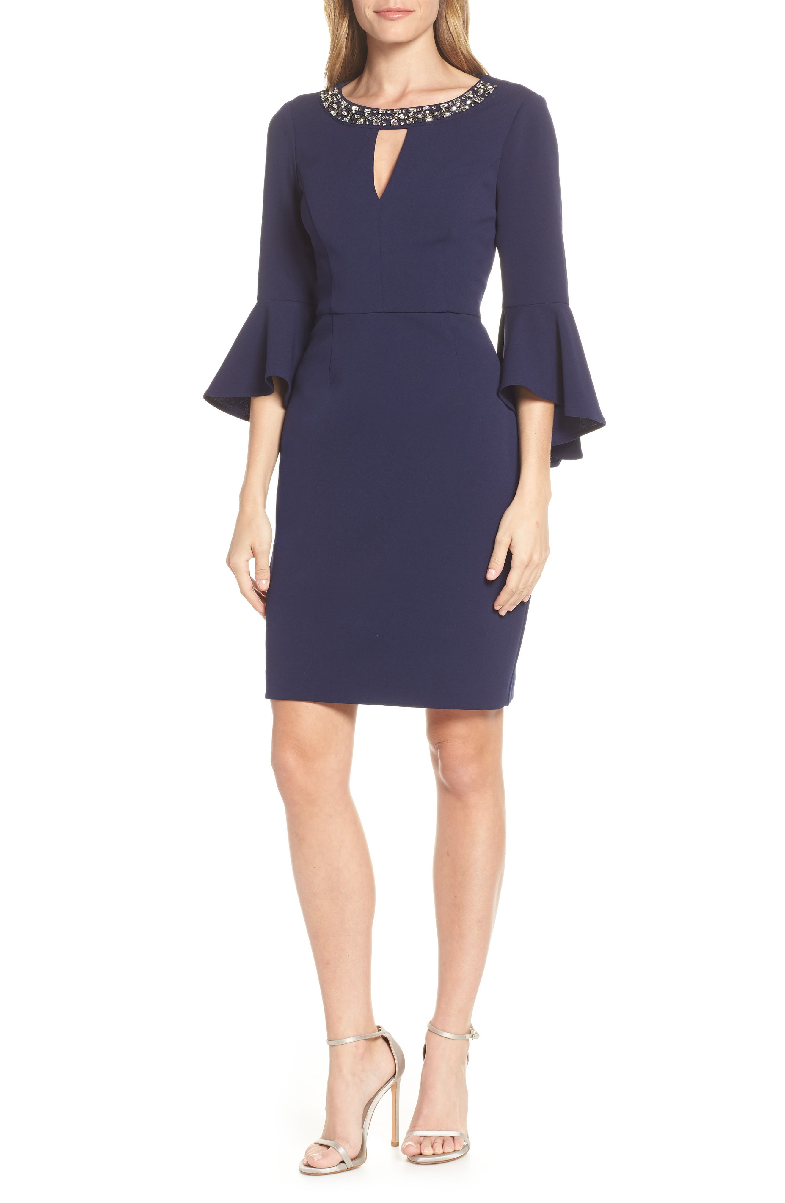 VINCE CAMUTO, Embellished Neck Sheath Dress, Main thumbnail 1, color, NAVY